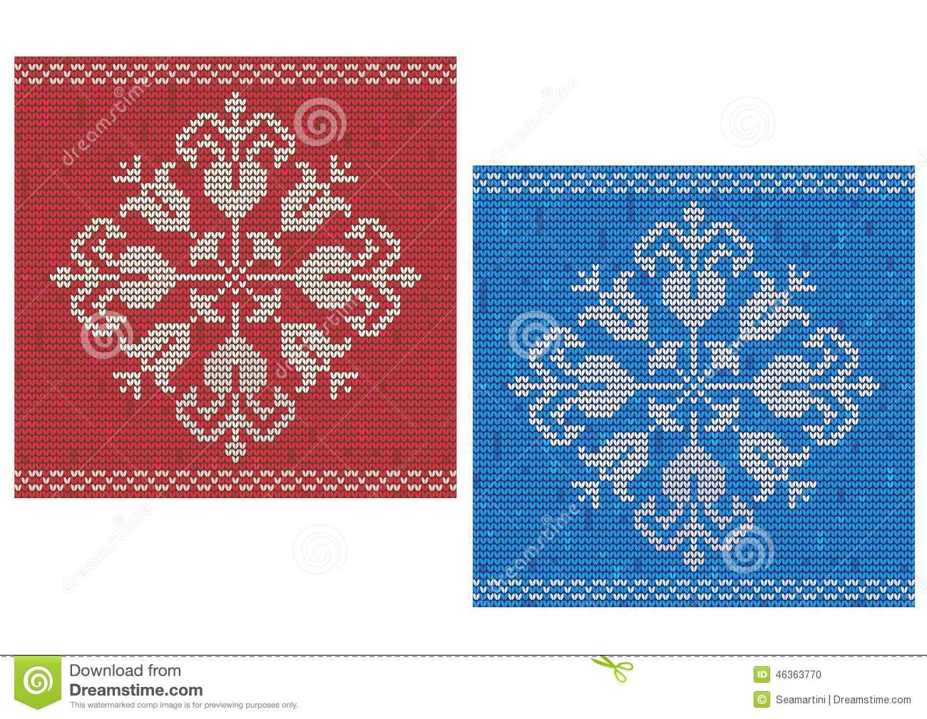 Snowflake knitted pattern stock vector. Illustration of ornament ...