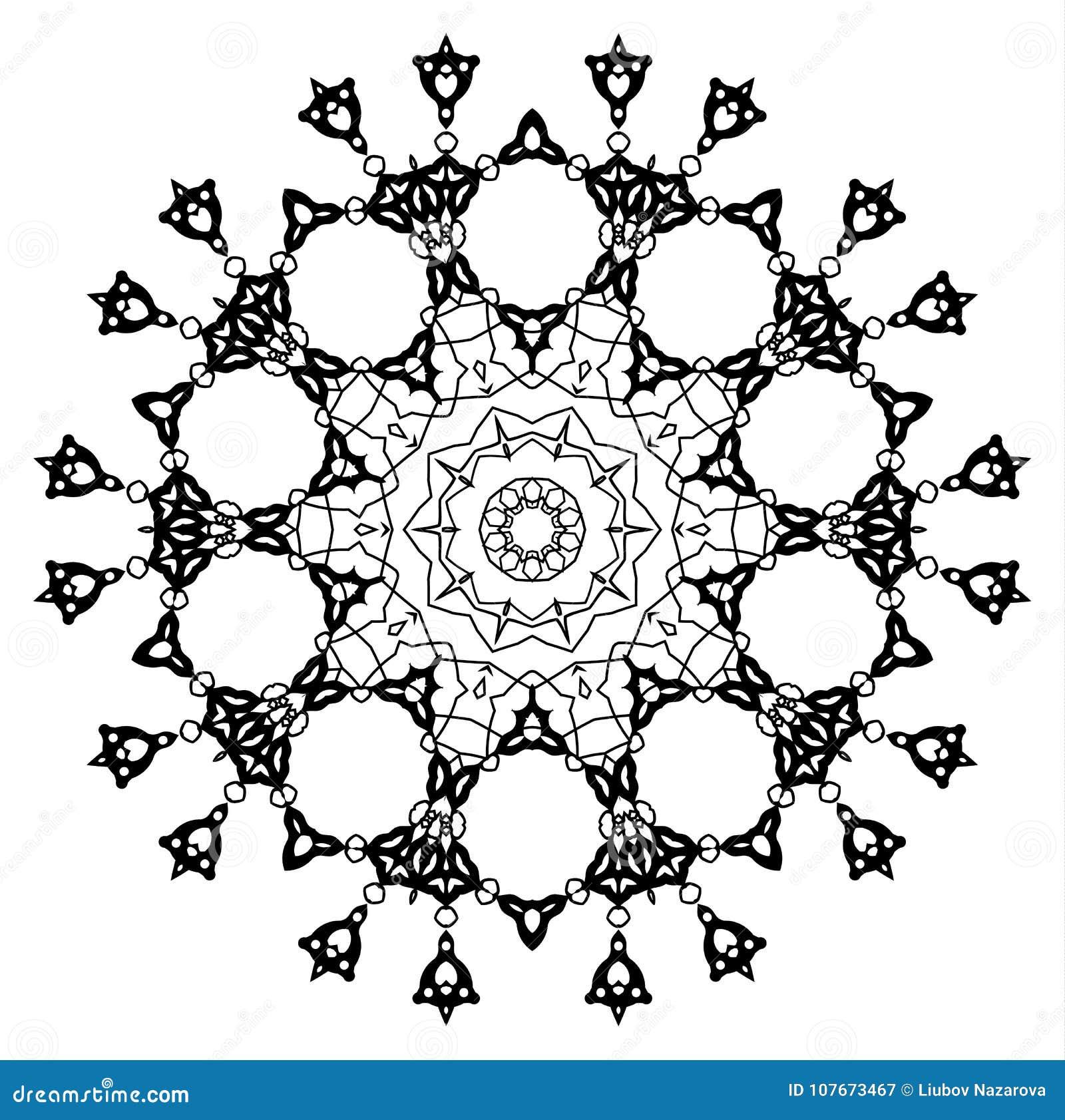 Snowflake Mandala Vintage Decorative Elements Royalty Free Illustration