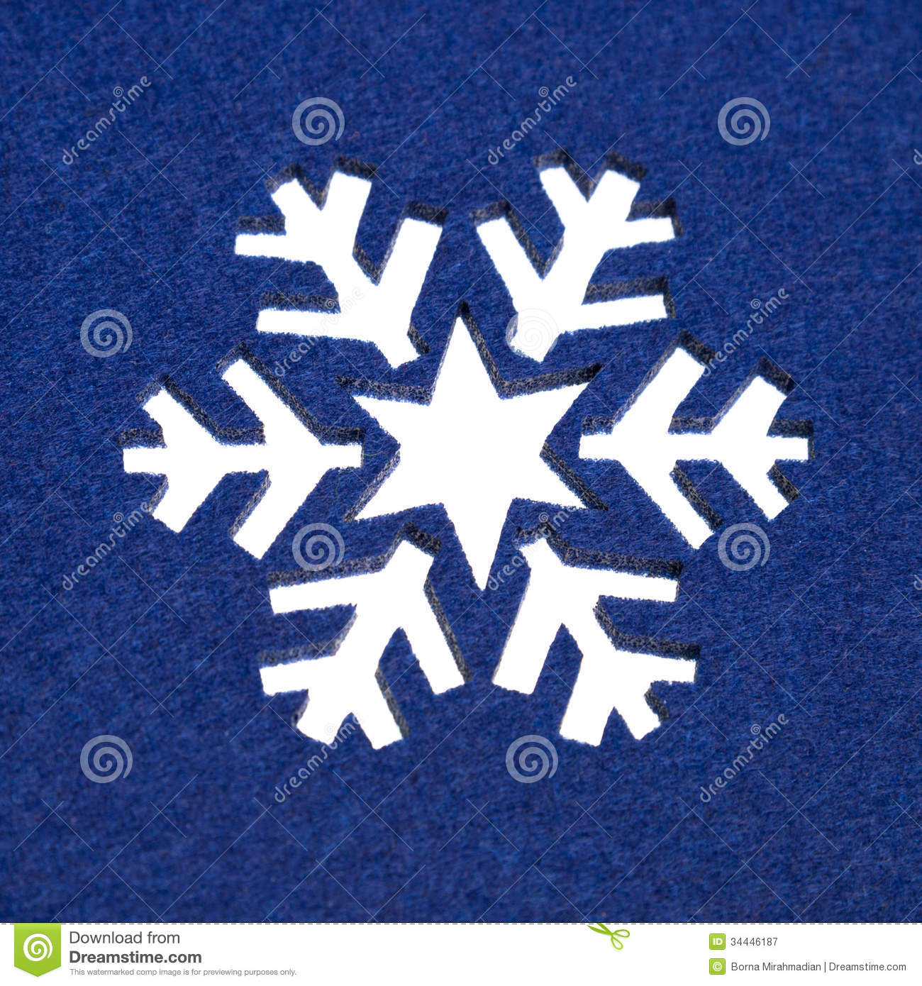 Snowflake Pattern Cut Out From Fluffy Blue Felt Royalty Free Stock ...