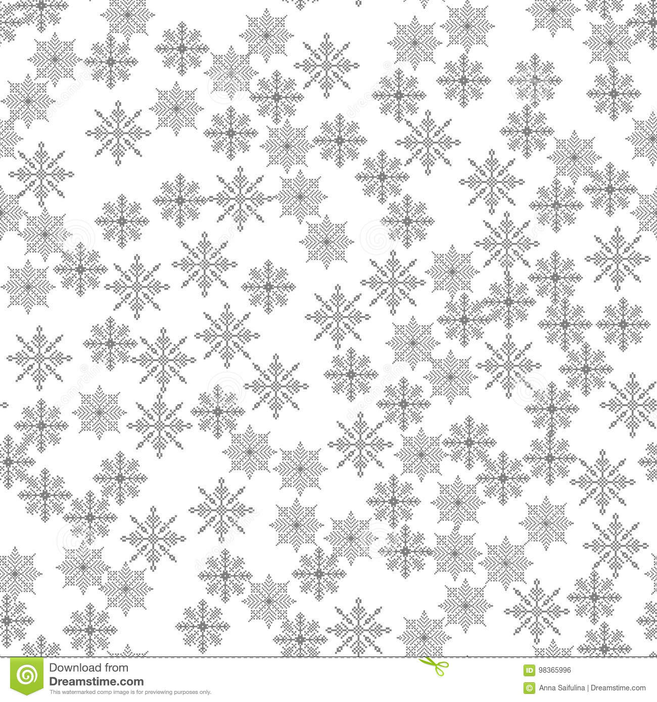Snowflake seamless pattern Light Christmas background Vector illustration The theme of winter, new year, holiday