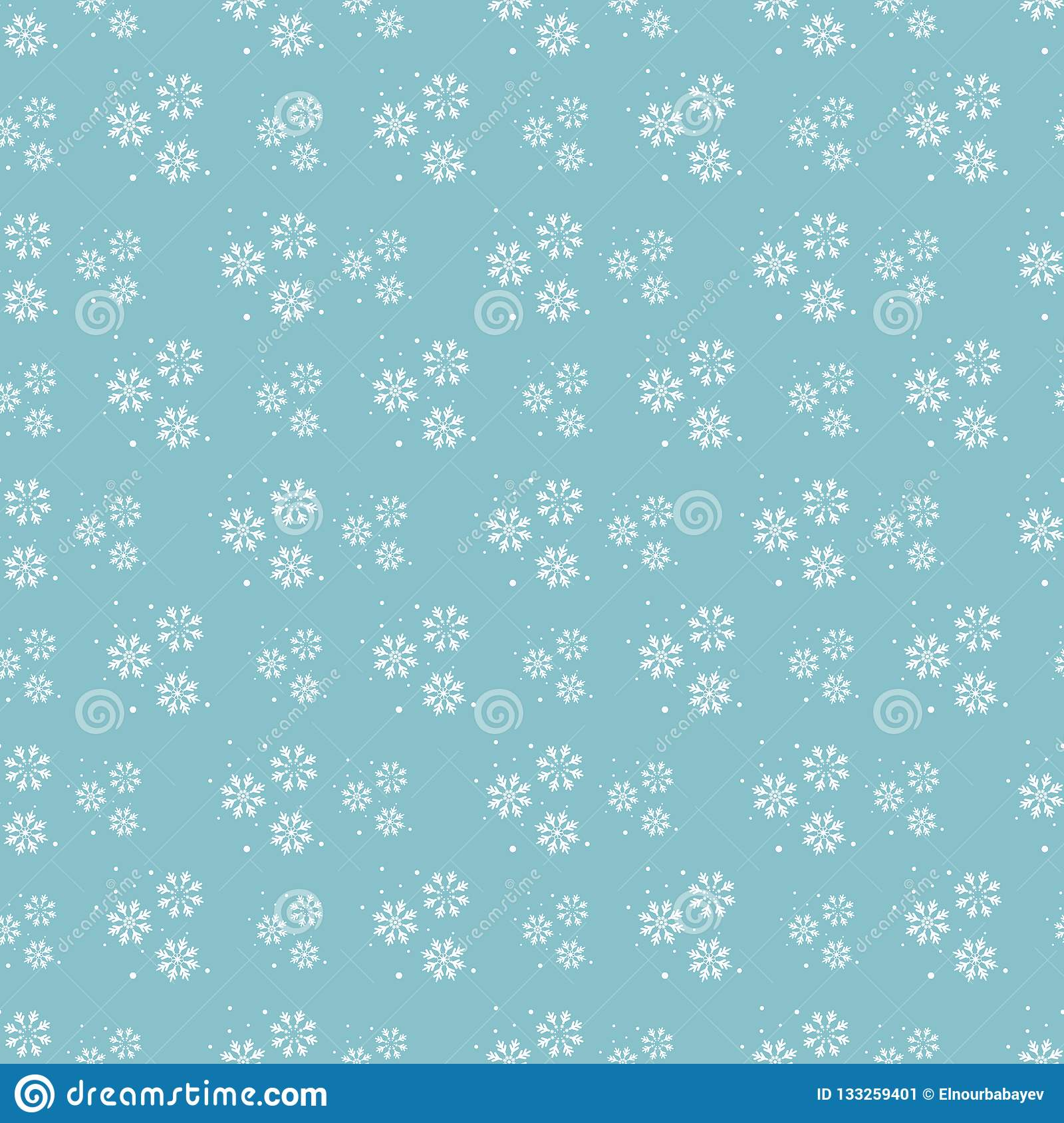 2fce717af78 Snowflake Seamless Pattern. Snow On Blue Background. Abstract ...