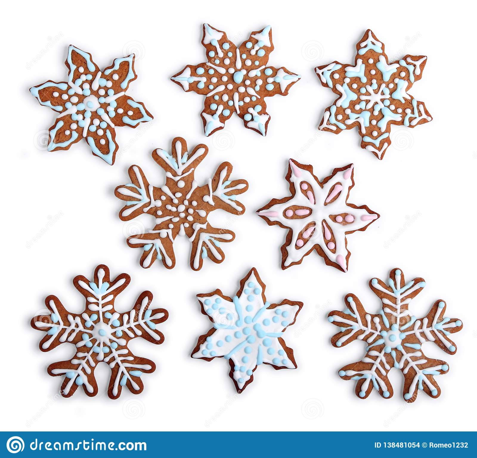 Snowflake Shaped Gingerbread Cookies Home Made Stock Photo Image