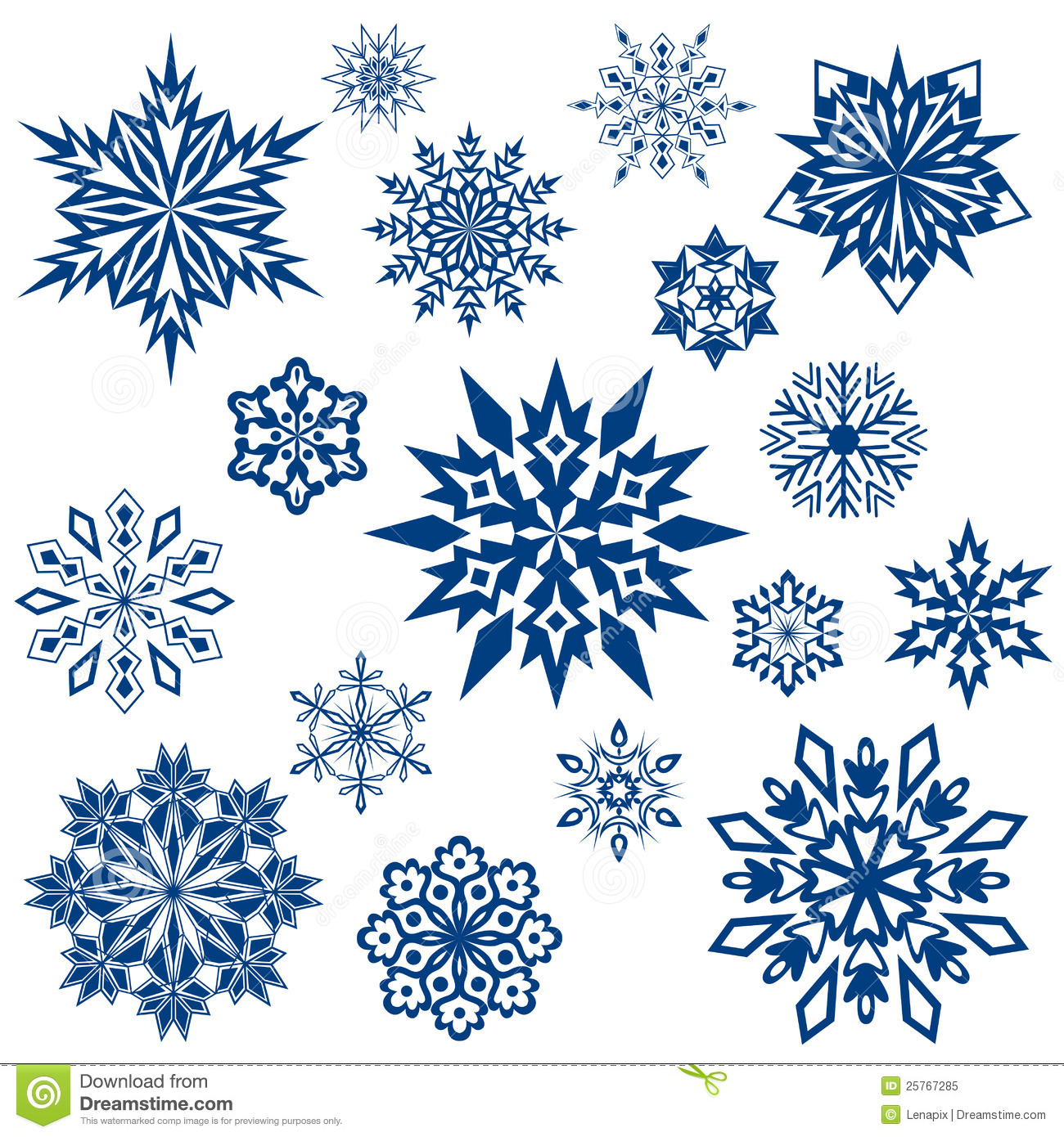 snowflake shapes collection royalty free stock photo
