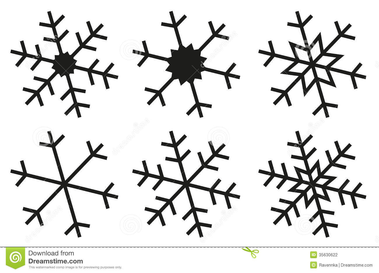 Simple Snowflake Line Art : Snowflake silhouettes collection stock vector
