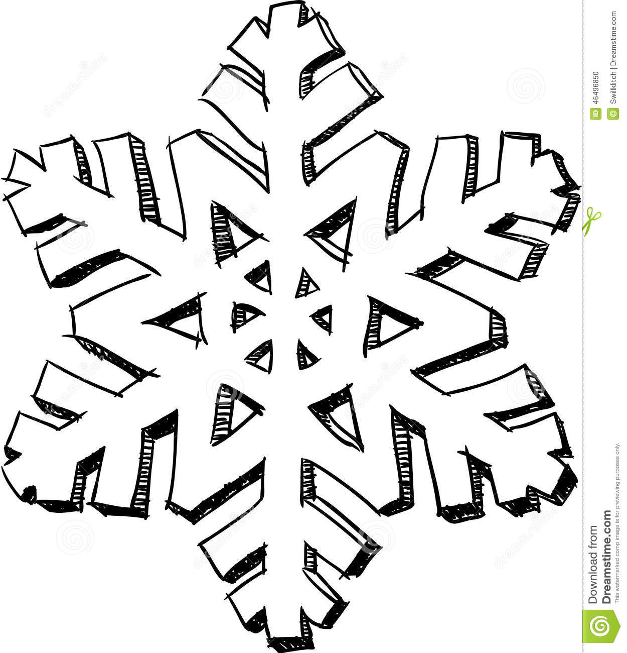 Snowflake sketch stock vector. Illustration of label ...