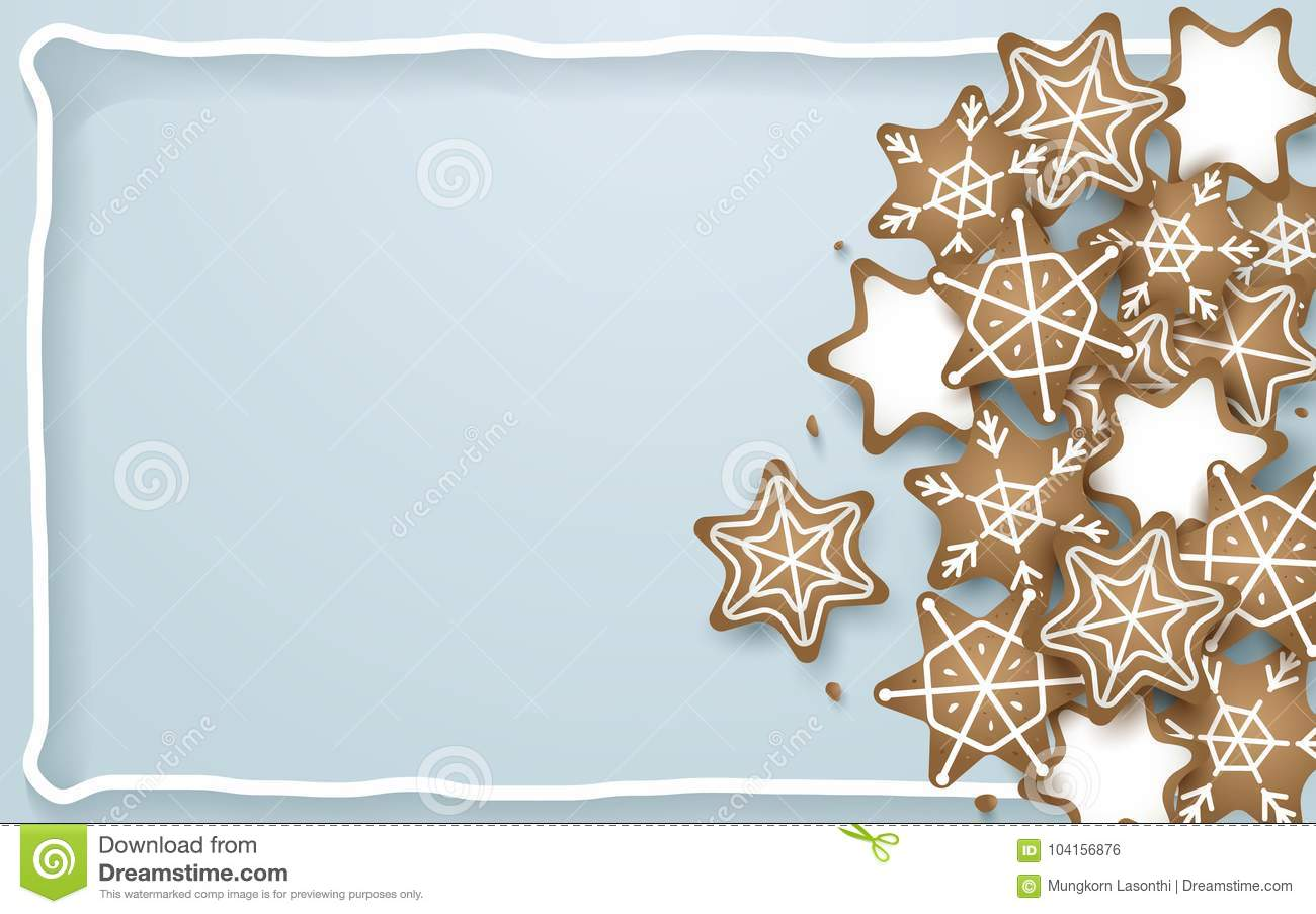 Snowflake, star, cookies shapes on soft blue background