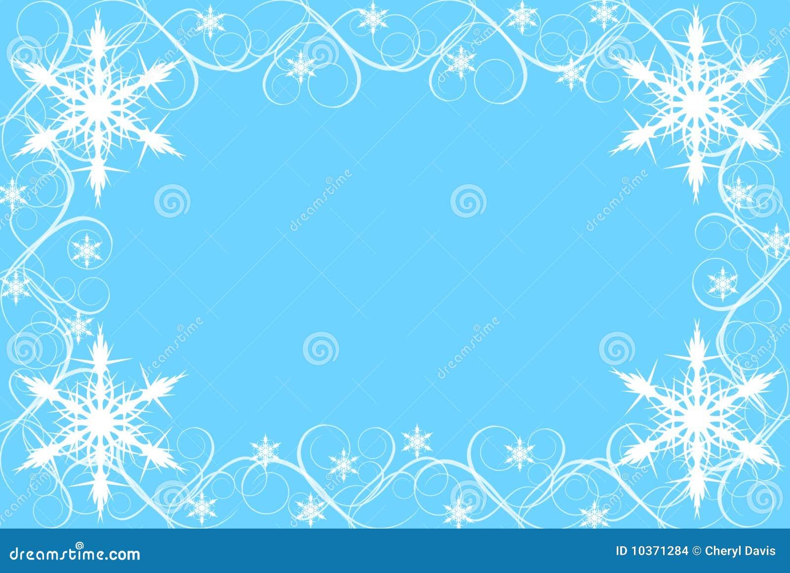 snowflake and swirl border on blue background stock illustration