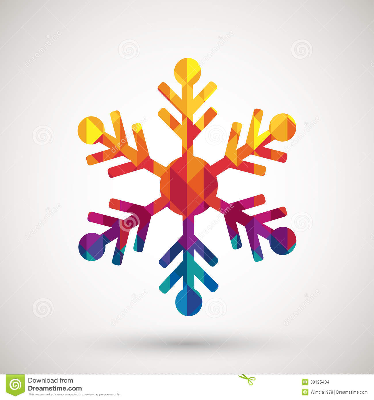 Snowflake Symbol With Colorful Diamond Stock Vector - Image: 39125404