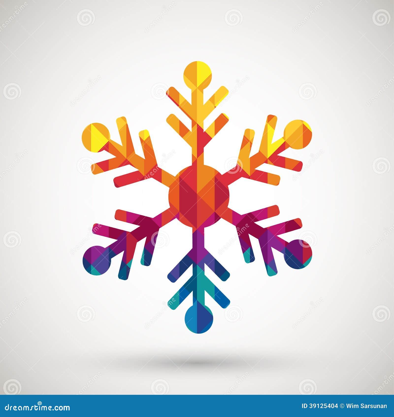 Snowflake Symbol With Colorful Diamond Stock Vector - Image: 39125404