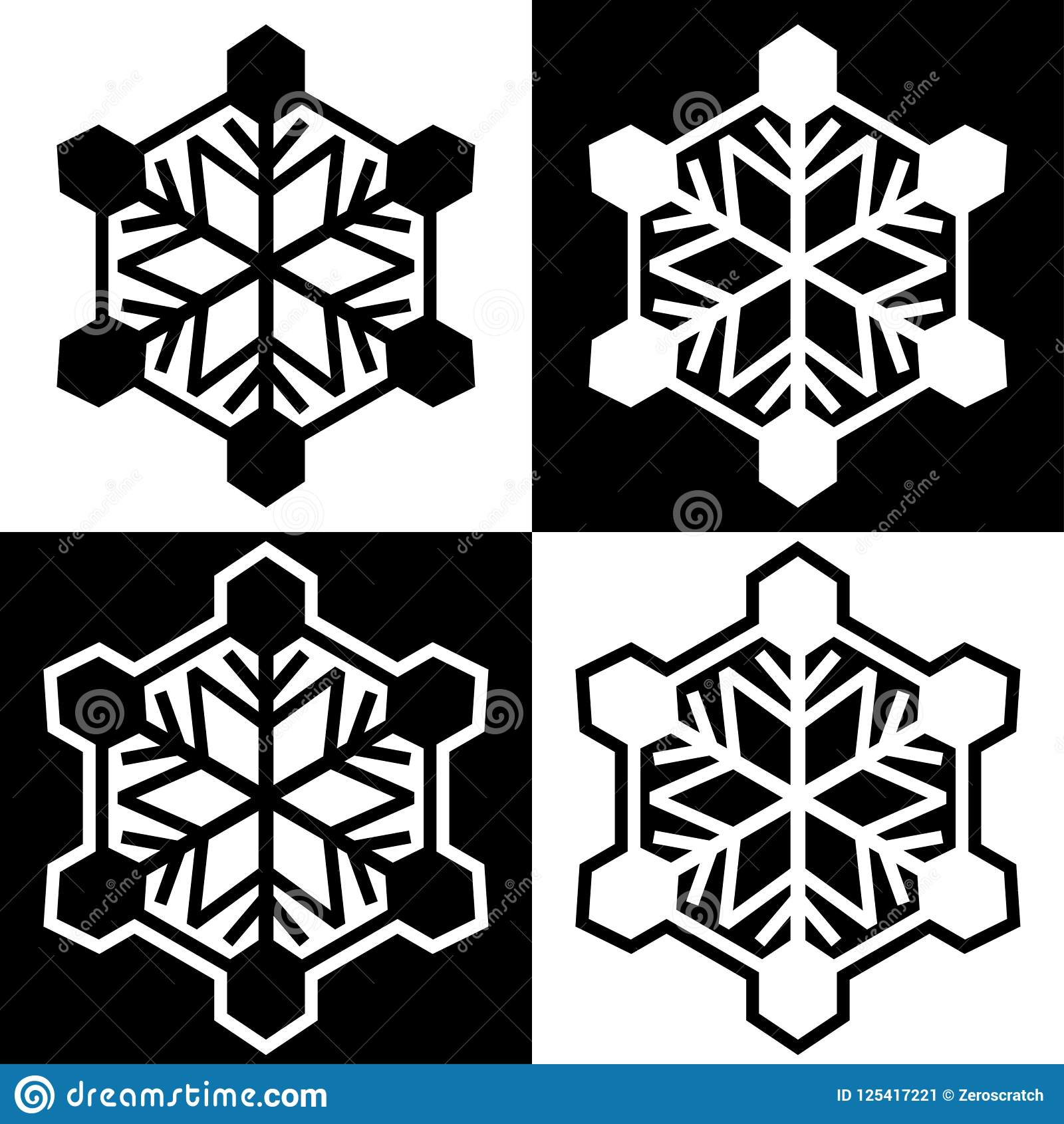 Snowflake Symbols Icons Signs Logos Simple Black And White