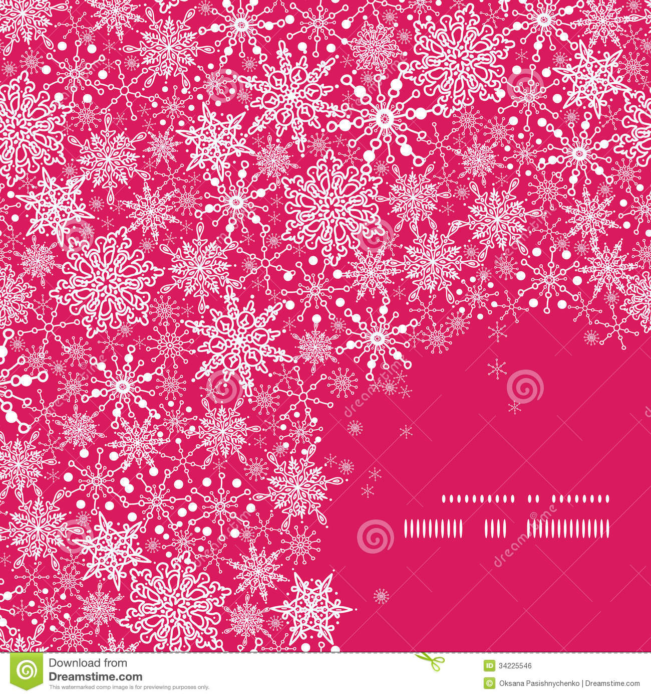 snowflake texture corner frame pattern background stock