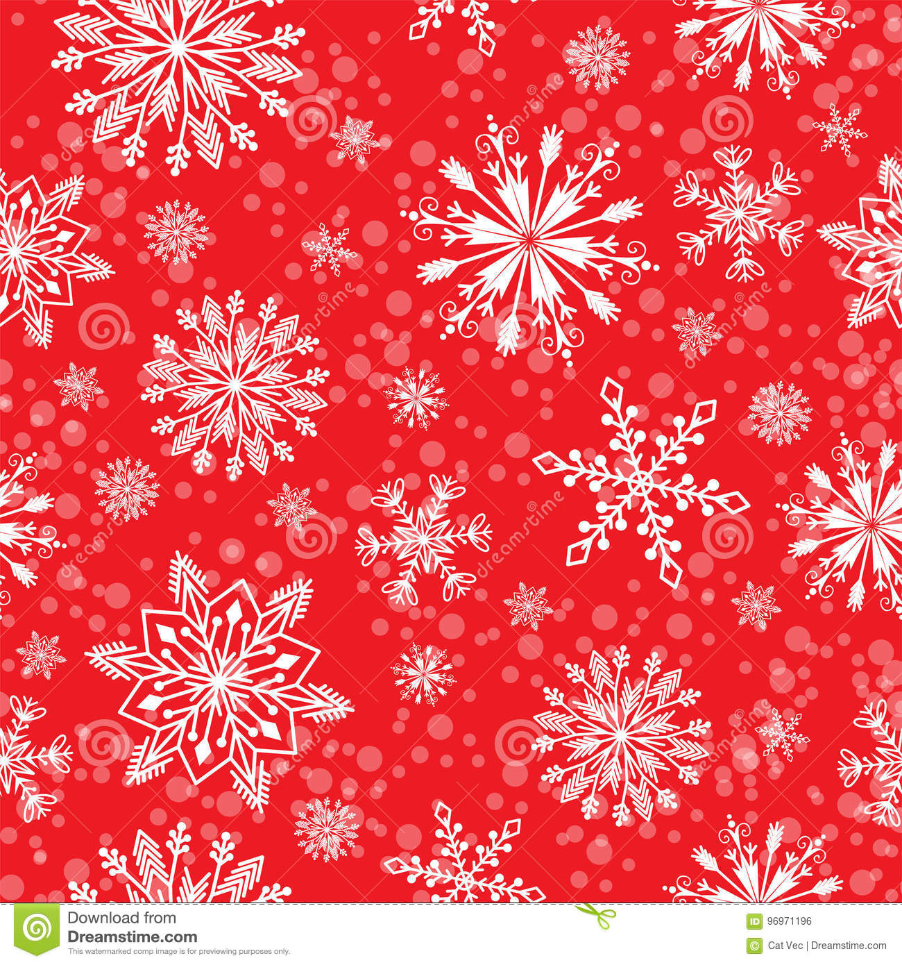 Snowflake vector seamless pattern weather traditional winter december wrapping paper christmas background.