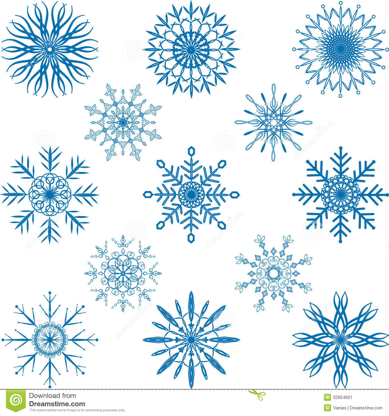 Snowflake Vector Set Stock Image - Image: 32954661