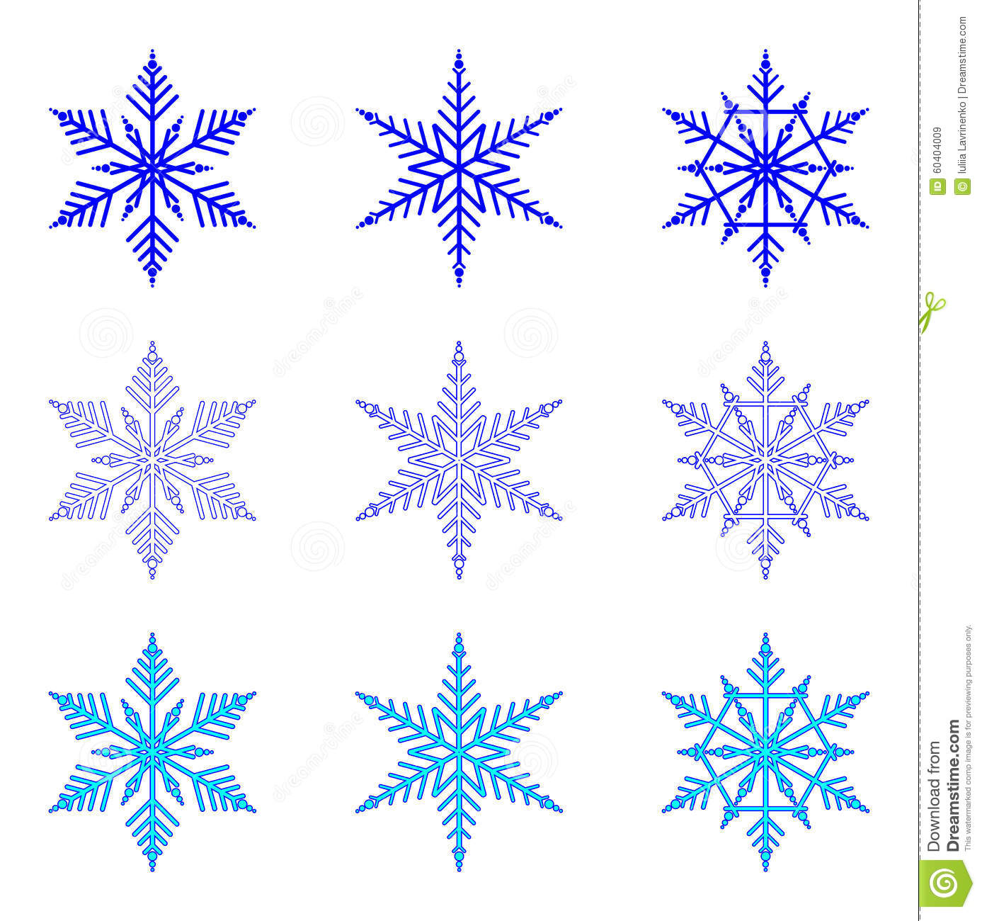 snowflake vector set of snowflakes on white background stock vector