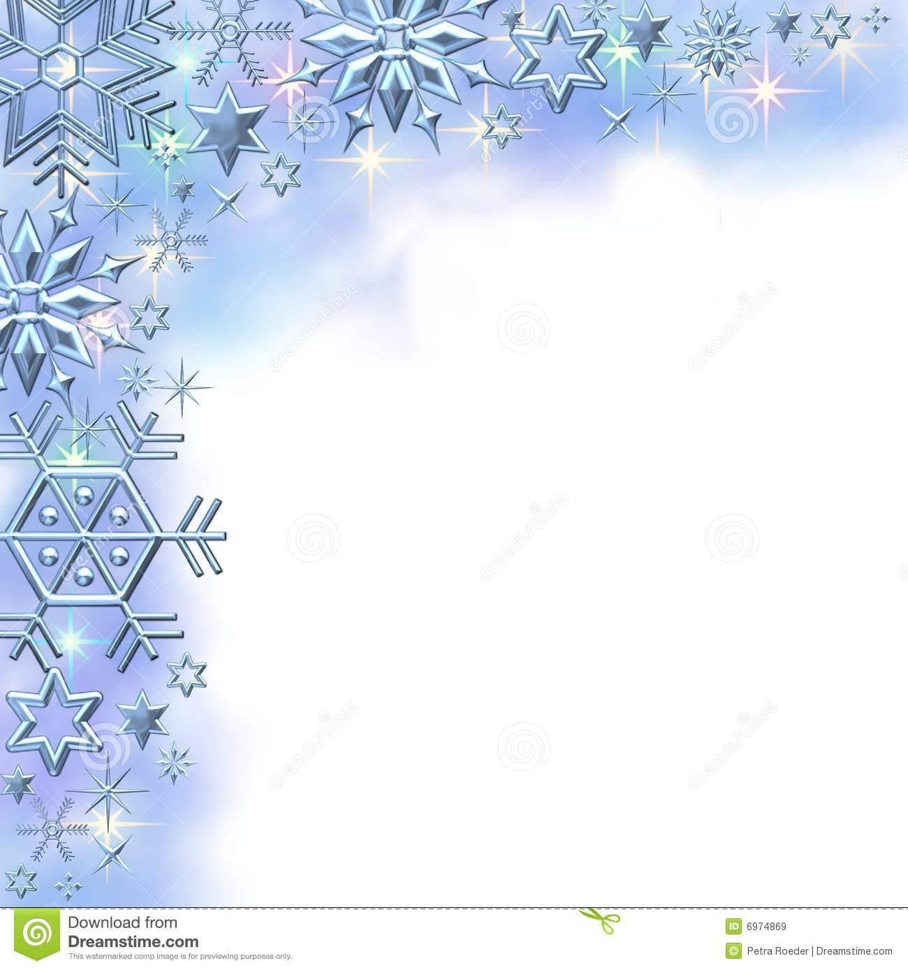 An illustration of snowflakes for winter as a border. .