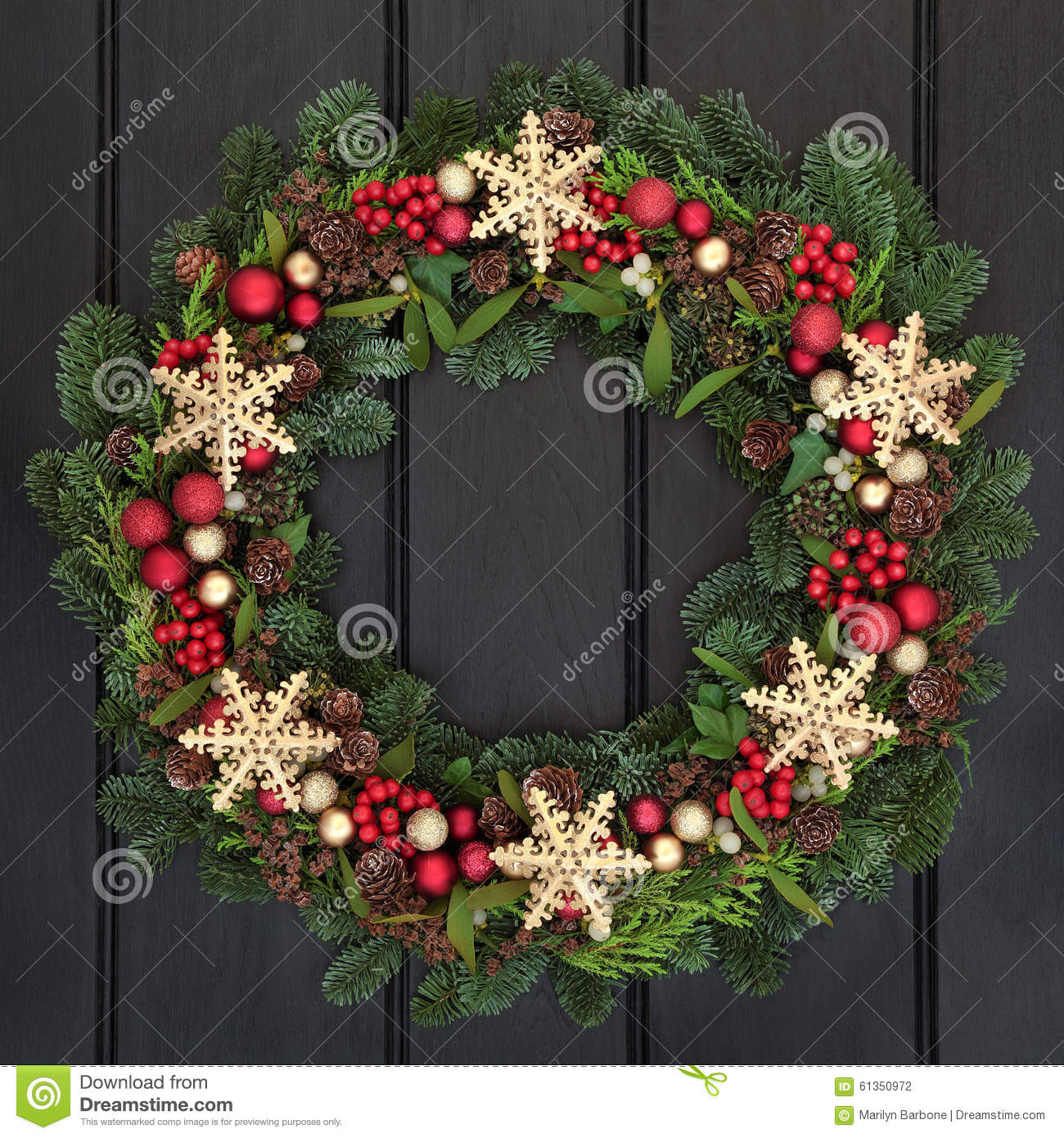Snowflake Wreath Stock Photo - Image: 61350972