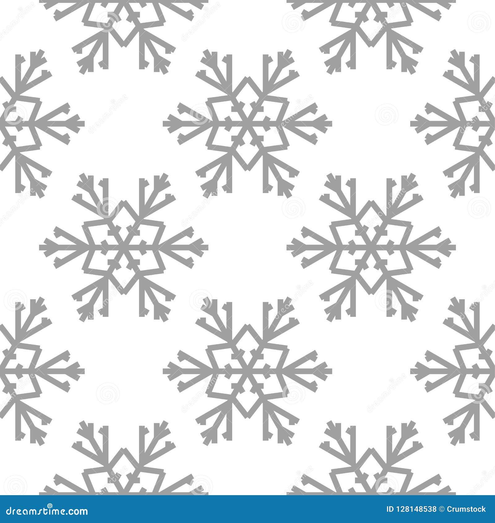 Snowflakes πρότυπο άνευ ραφής Άσπρη και γκρίζα χειμερινή διακόσμηση