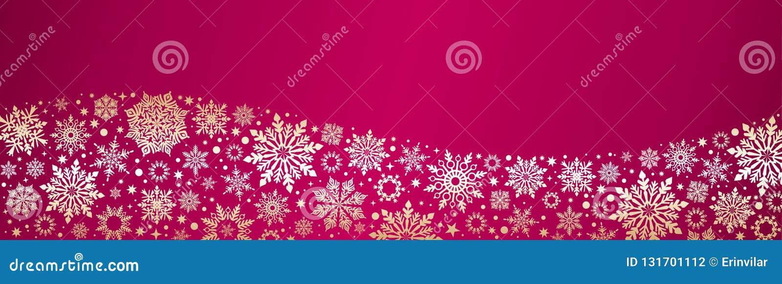 Snowflakes Χριστουγέννων διανυσματικό κόκκινο χρυσό έμβλημα Ιστού