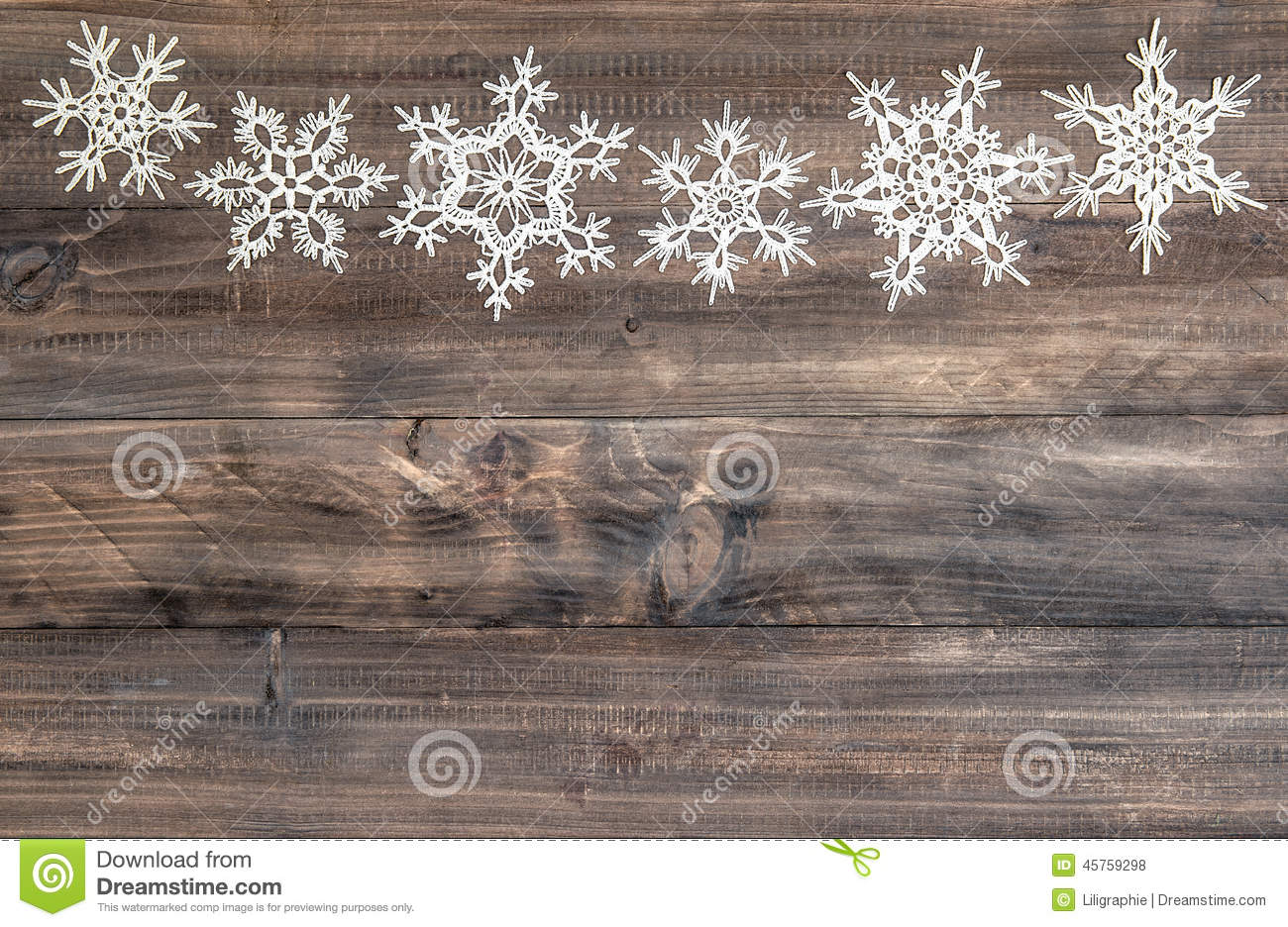Snowflakes Border Over Wooden Background Christmas Decoration Stock Photo 45759298