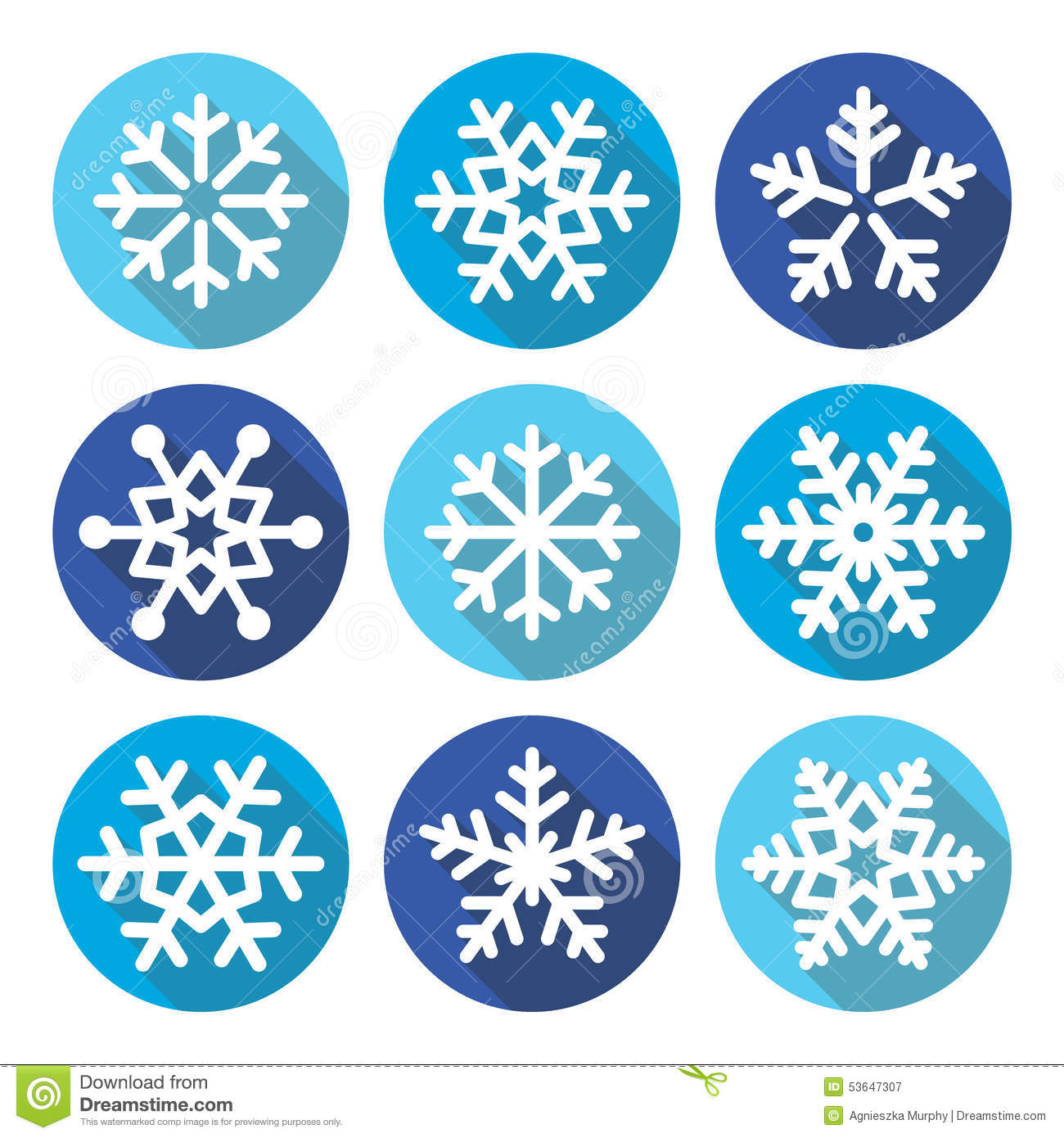 snowflakes  christmas flat design round icons stock illustration