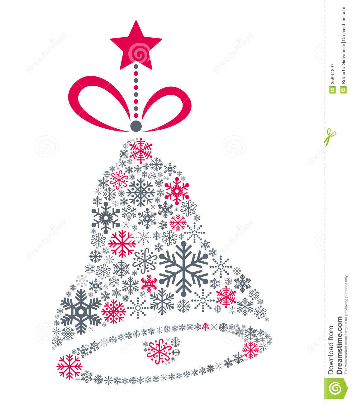 Snowflakes Christmas Jingle Bell Stock Vector Image