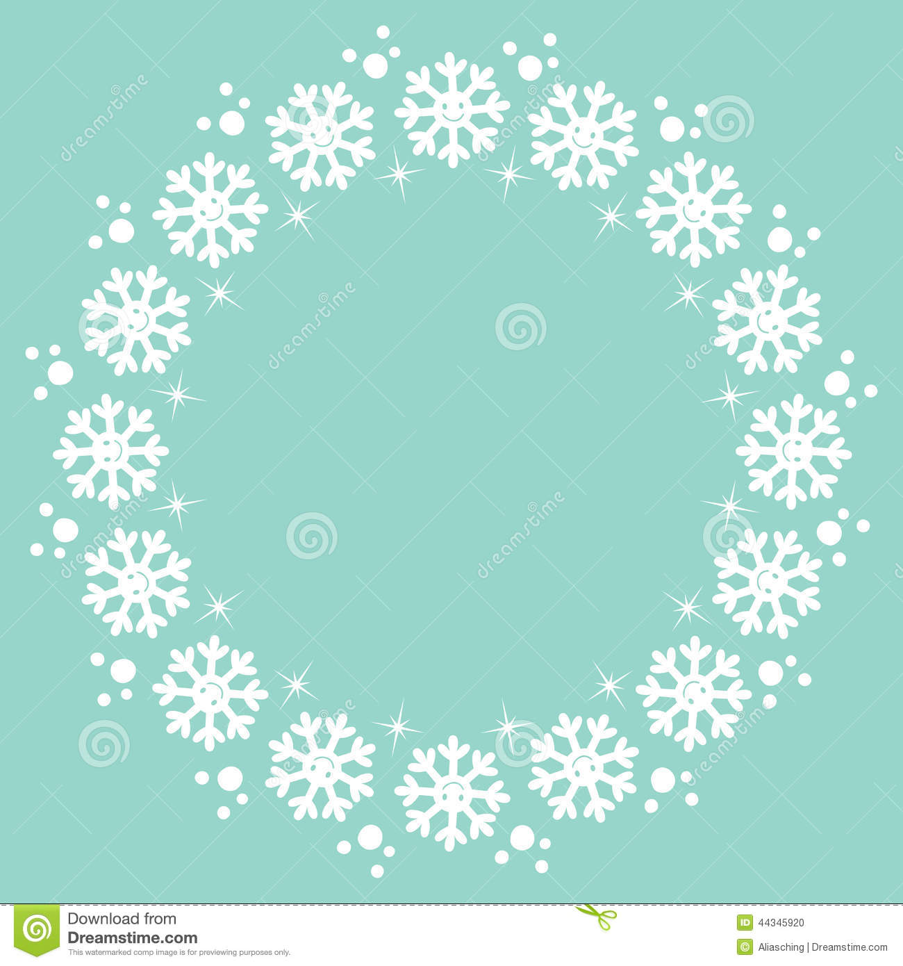 Snowflakes Christmas Winter Round Frame Design Element