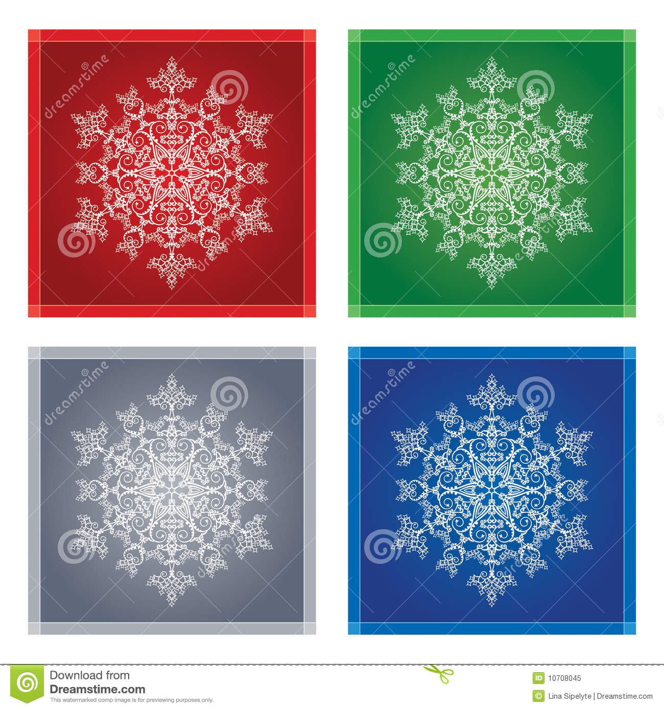 snowflakes in coloured frames stock vector illustration of silver