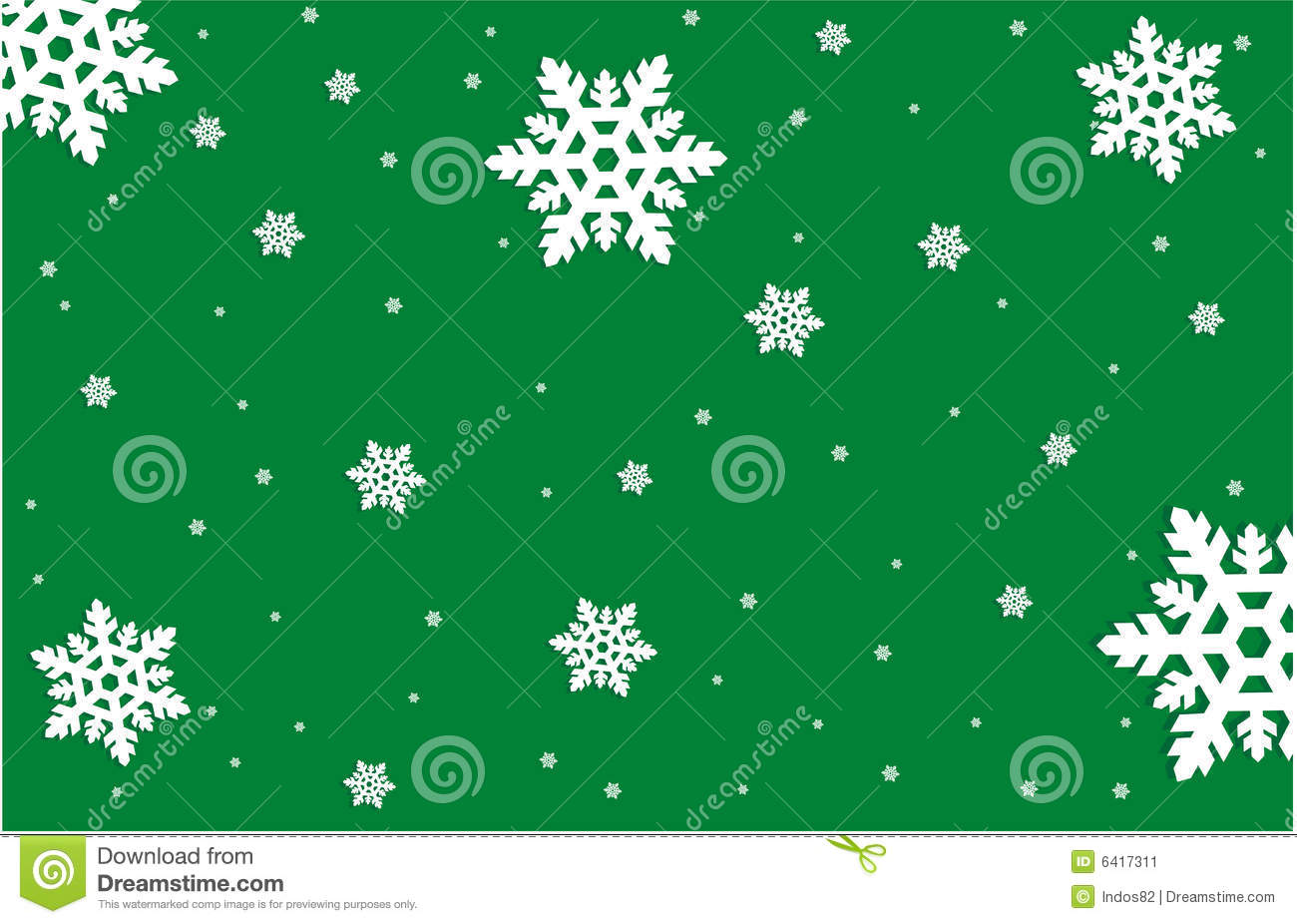 Snowflakes On Green Background Stock Image - Image: 6417311