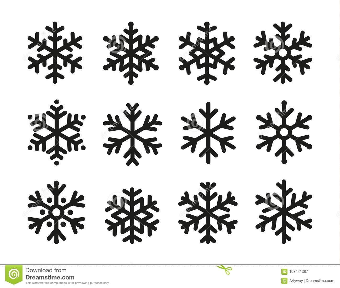 Snowflakes icon set, linear black design, freeze symbol collection, vector logo. Elements of decorating New Years and