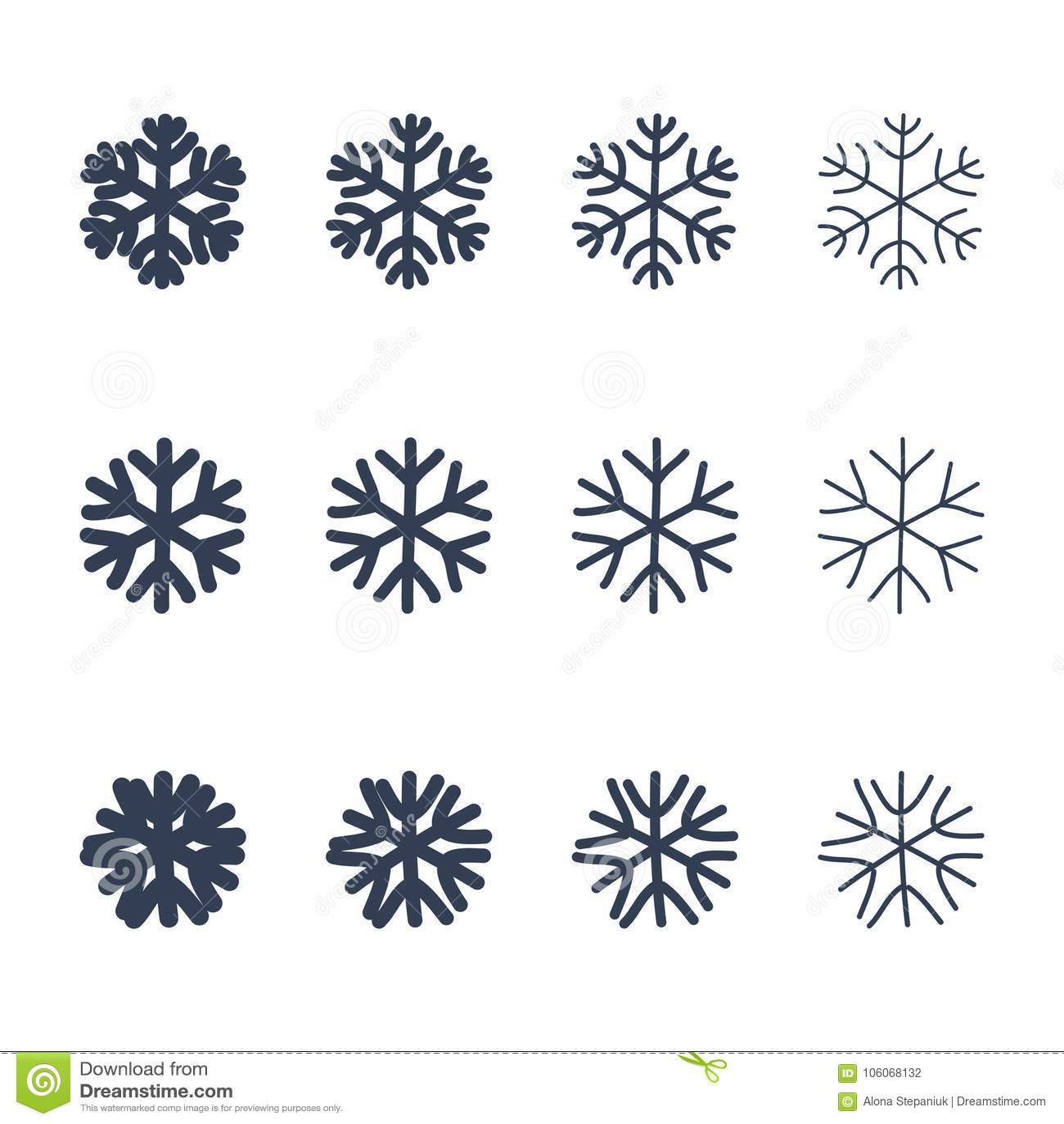 Snowflakes Signs Set Black Snowflake Icons Isolated On White