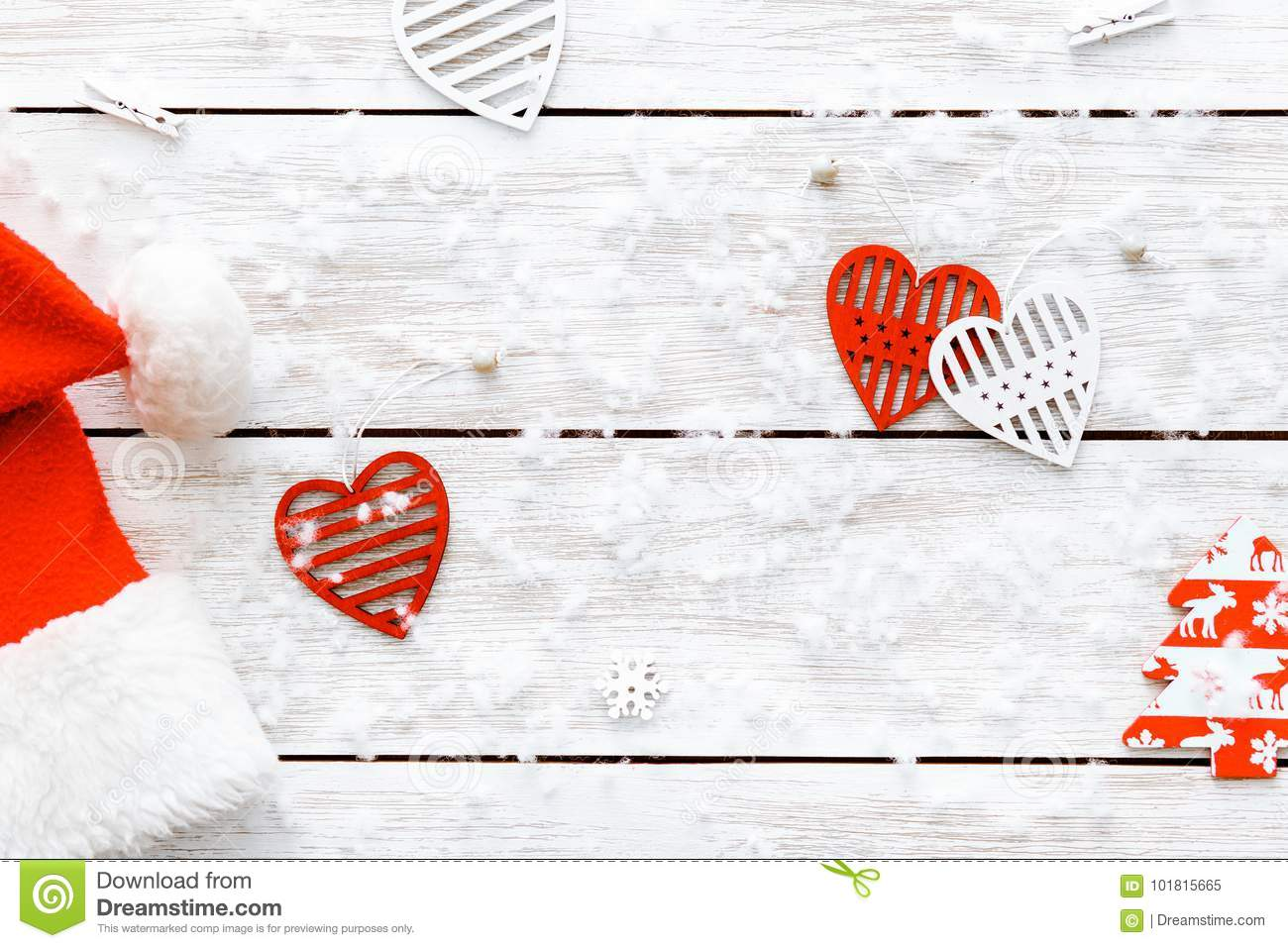 Santa Claus Hat Red Hearts On Wooden White Background Merry