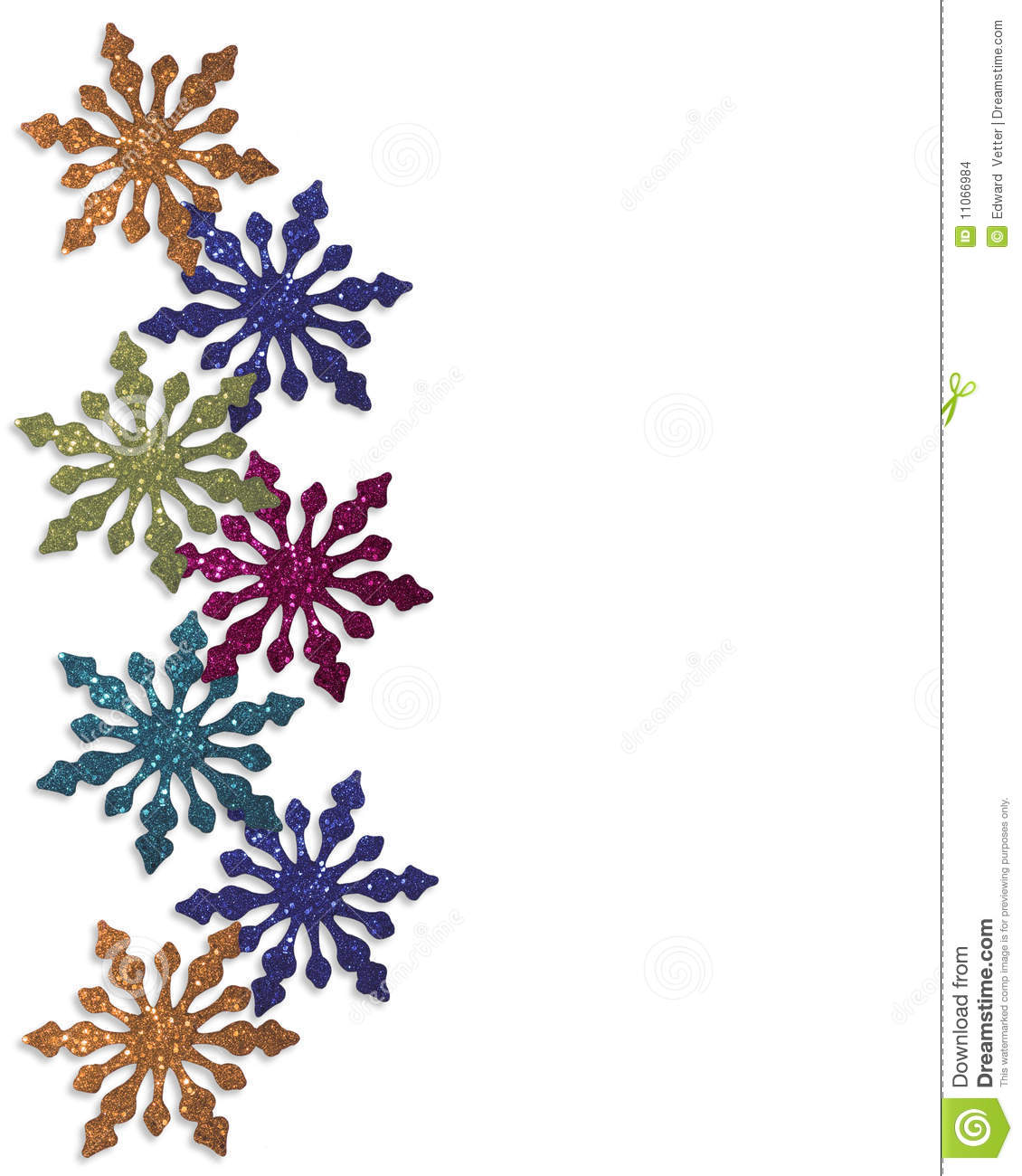 ... snowflakes ornaments for Christmas or winter background, border with
