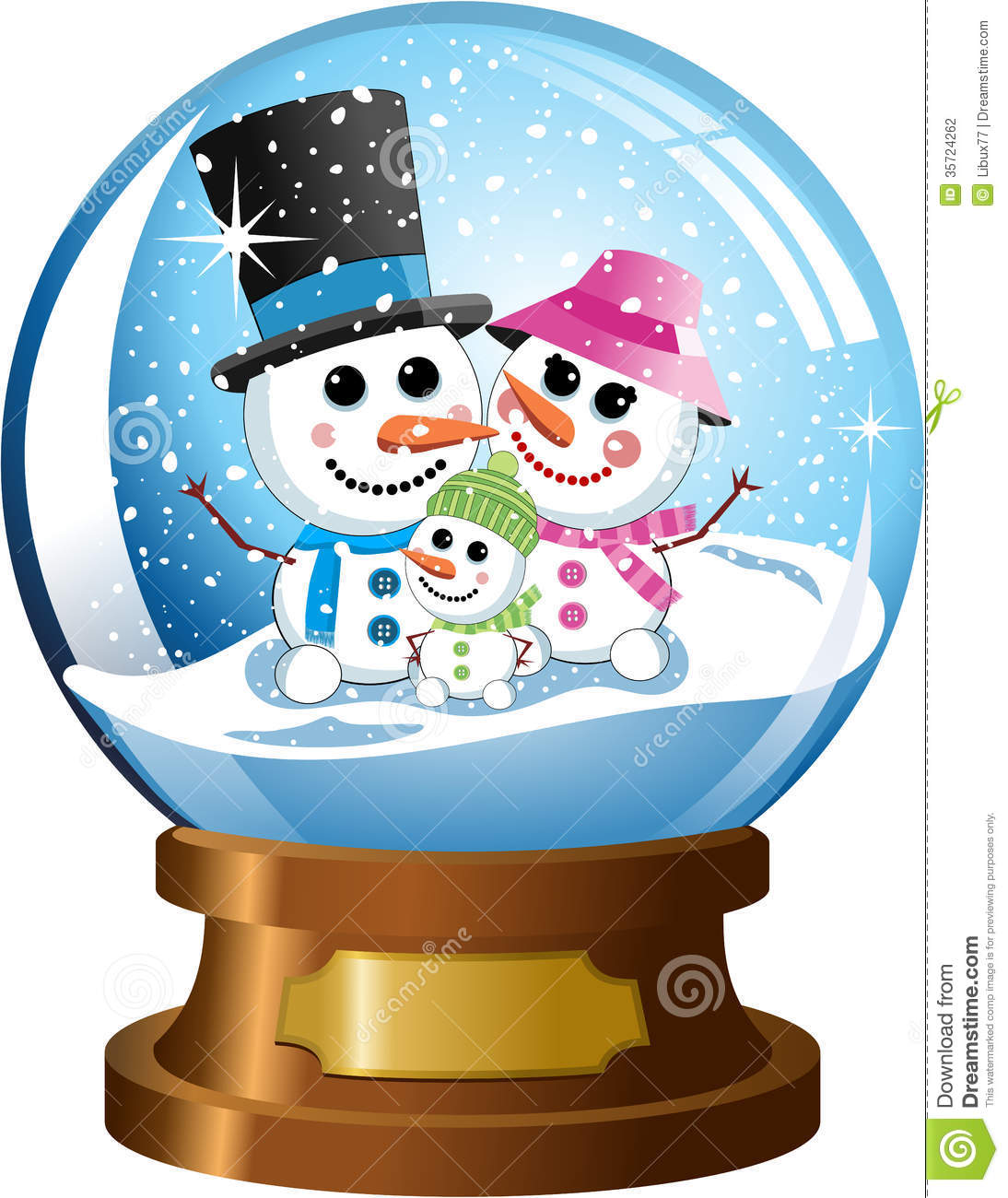 Snowglobe With Happy Snowman Family Under Snowfall