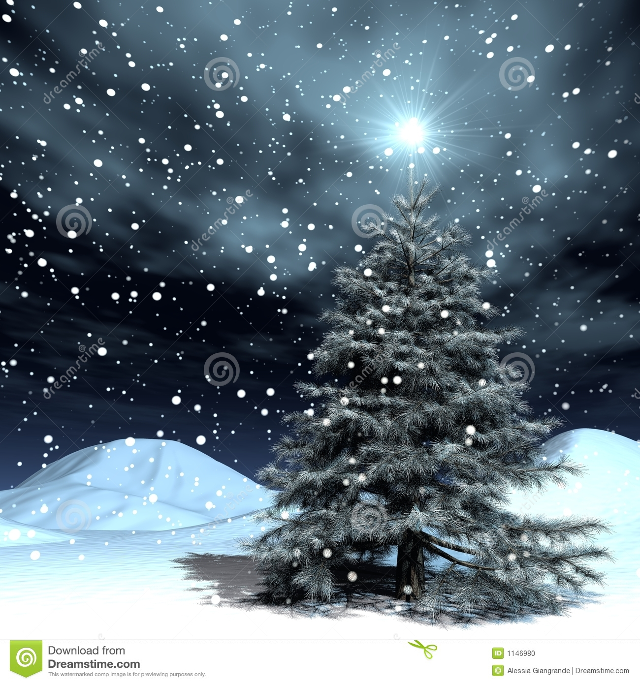 Snowing Christmas Stock Photo Image 1146980