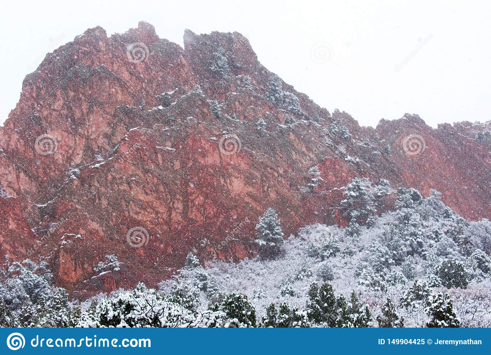 Garden Of The Gods Colorado Springs In The Snow Stock