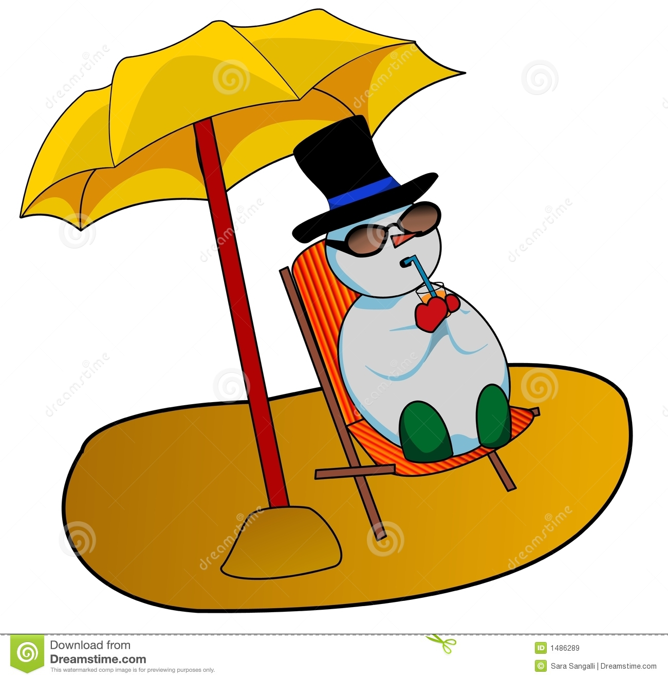 Illustration of a snowman sunbathing and relaxing on the beach .
