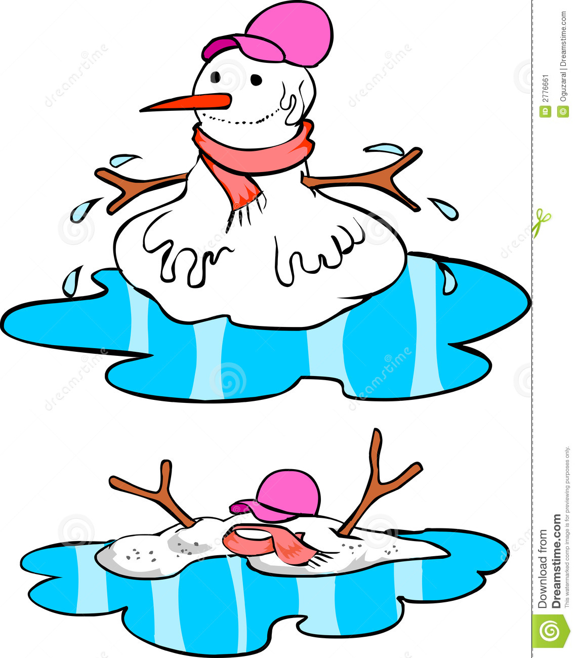 Snowman stock vector. Illustration of cute, black, funny - 2776661 for Melting Snowman Clipart  239wja