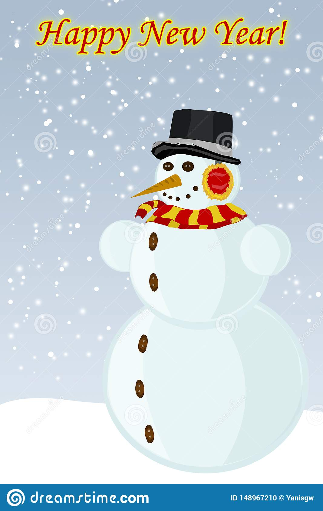 Snowman New Year, the vector image