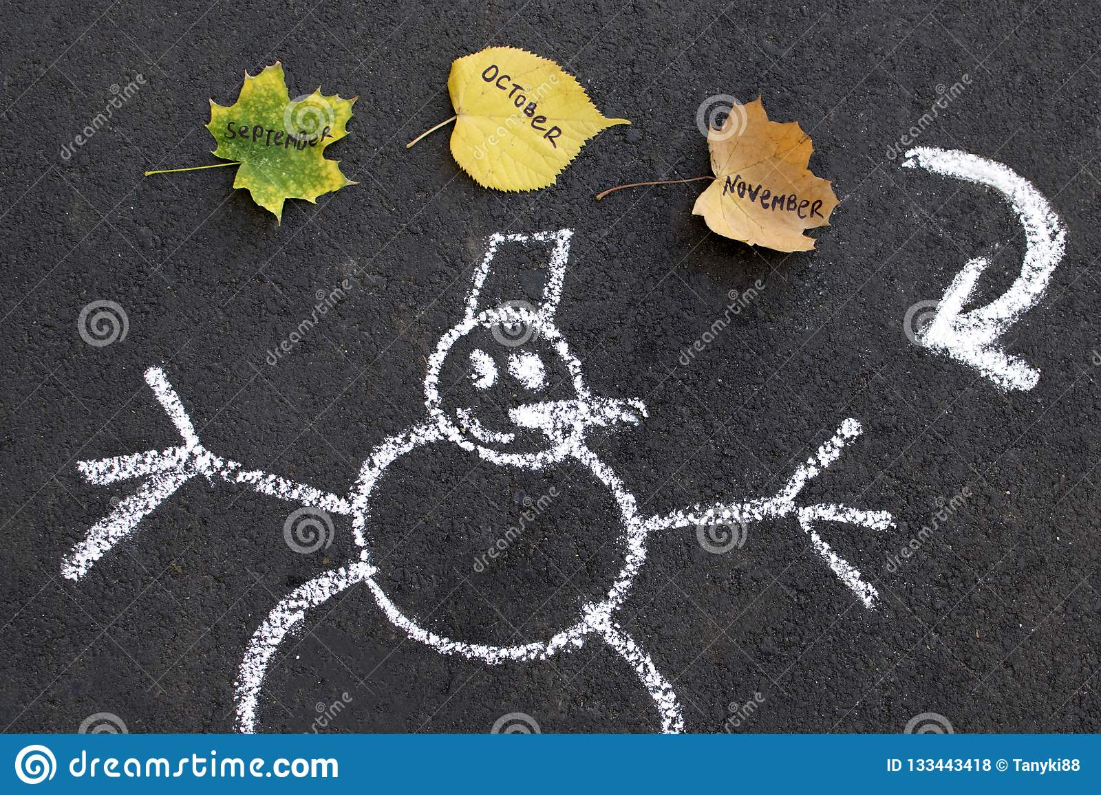 Snowman and autumn leaves seasons change