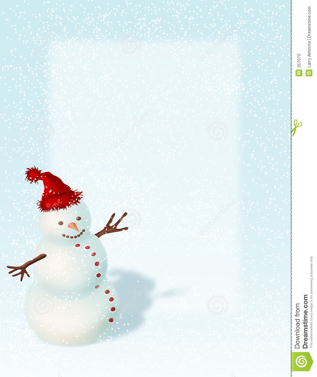 Snowman with red hat suitable for backgrounds, flliers and posters.