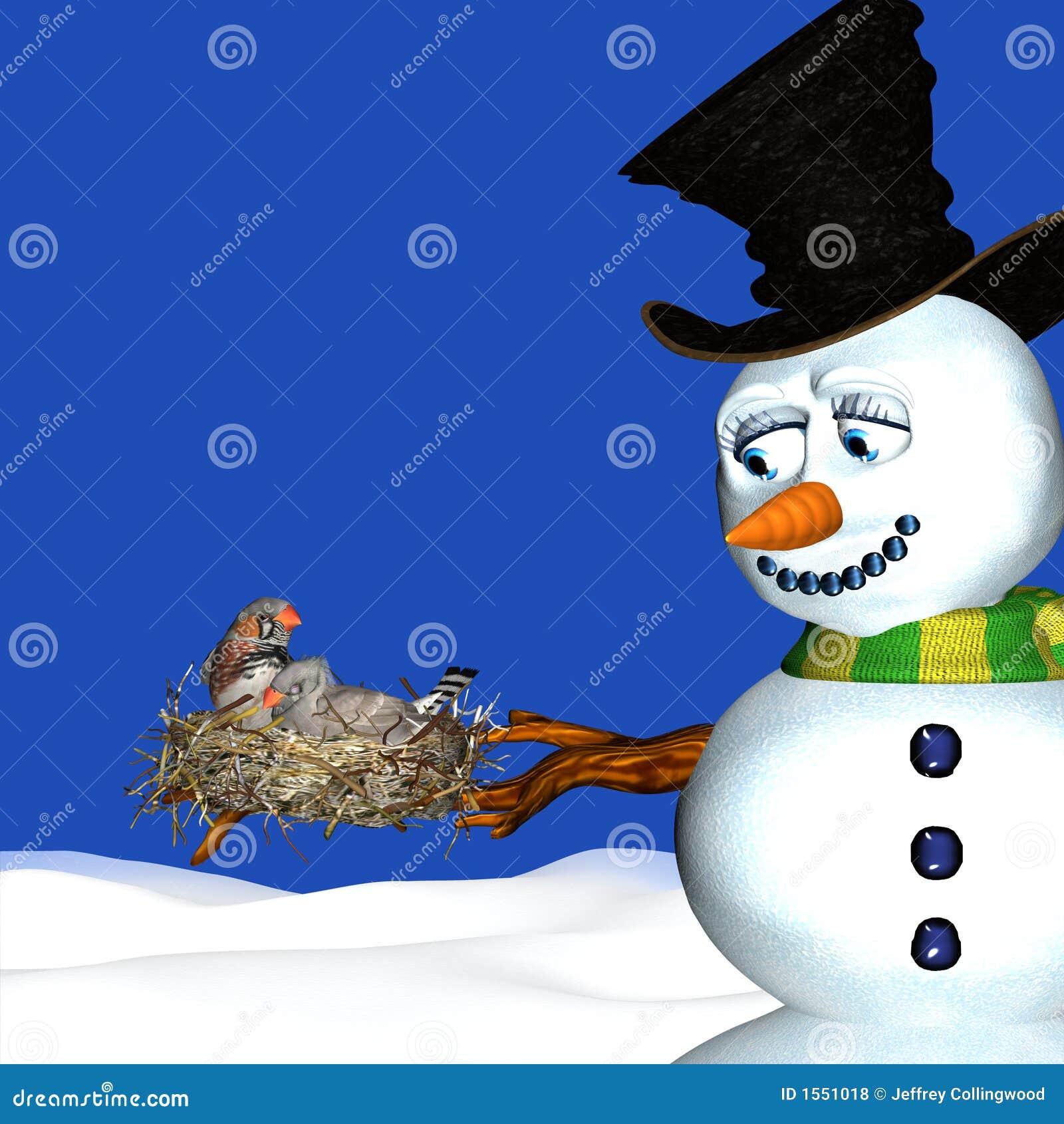 Snowman and Birds Nesting