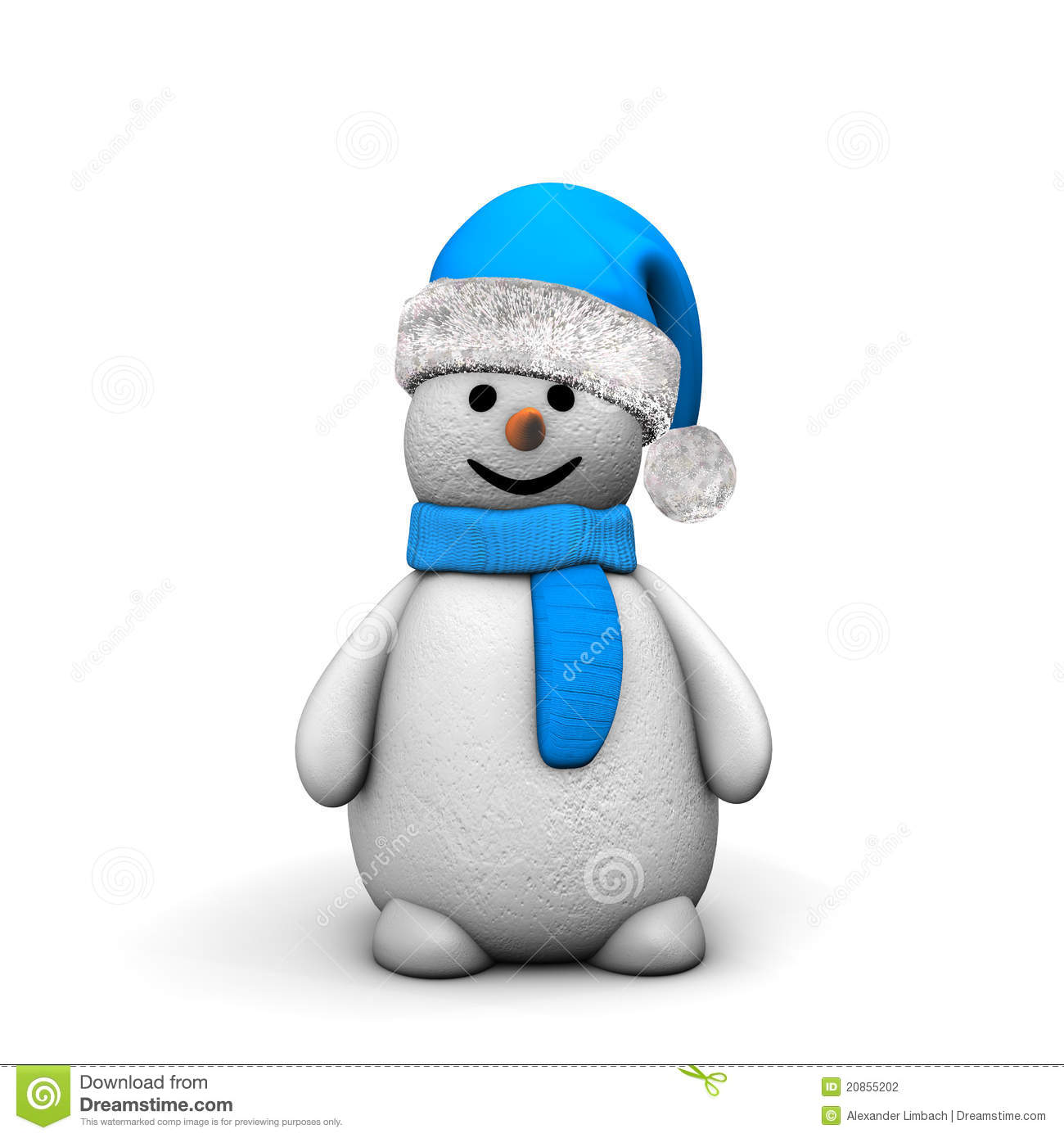 3d illustration of happy snowman in blue hat and scarf; isolated on ...