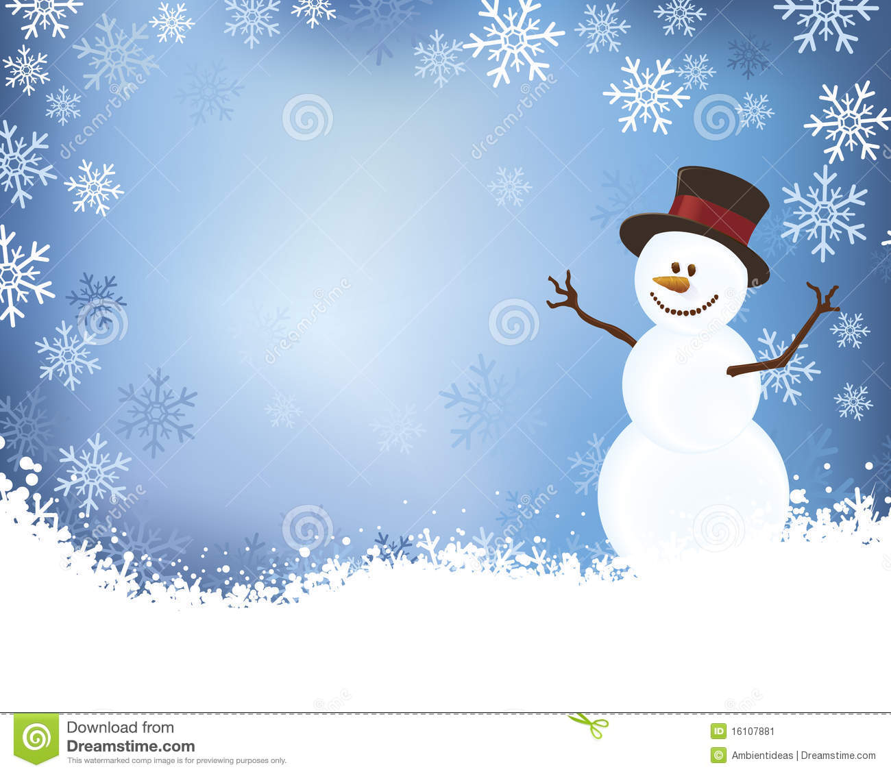 blue gradient background and detailed shadowed snowman with top hat