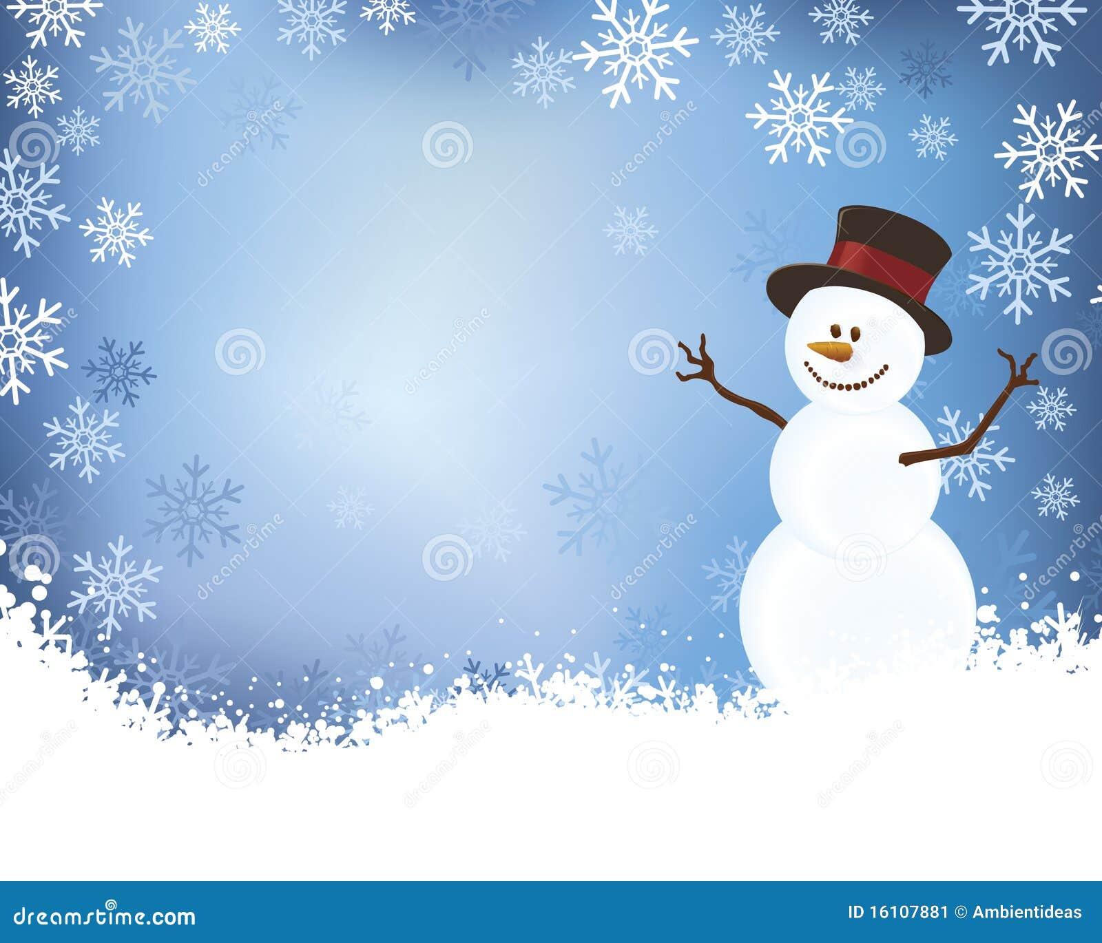 Snowman On Blue Winter Scene Background Stock Illustration