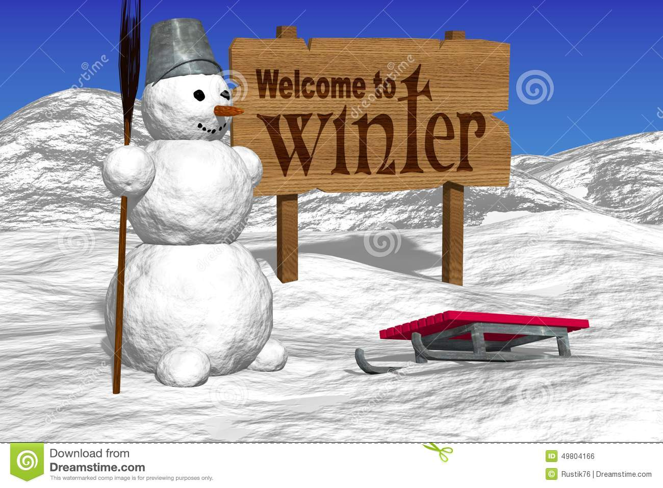 snowman and boards greeting  welcome to winter  stock