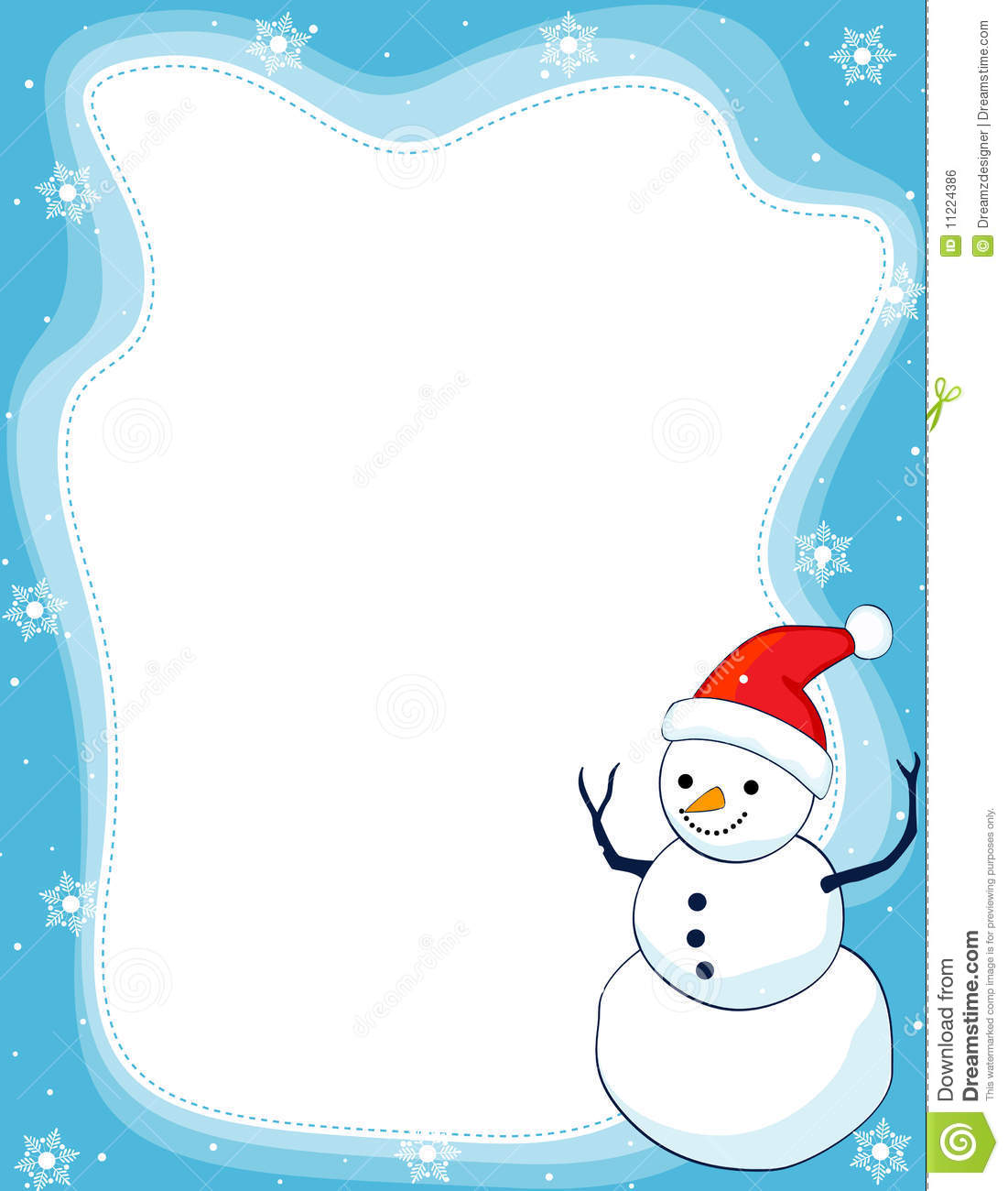 border illustration featuring a smiling snowman with falling snow on ...