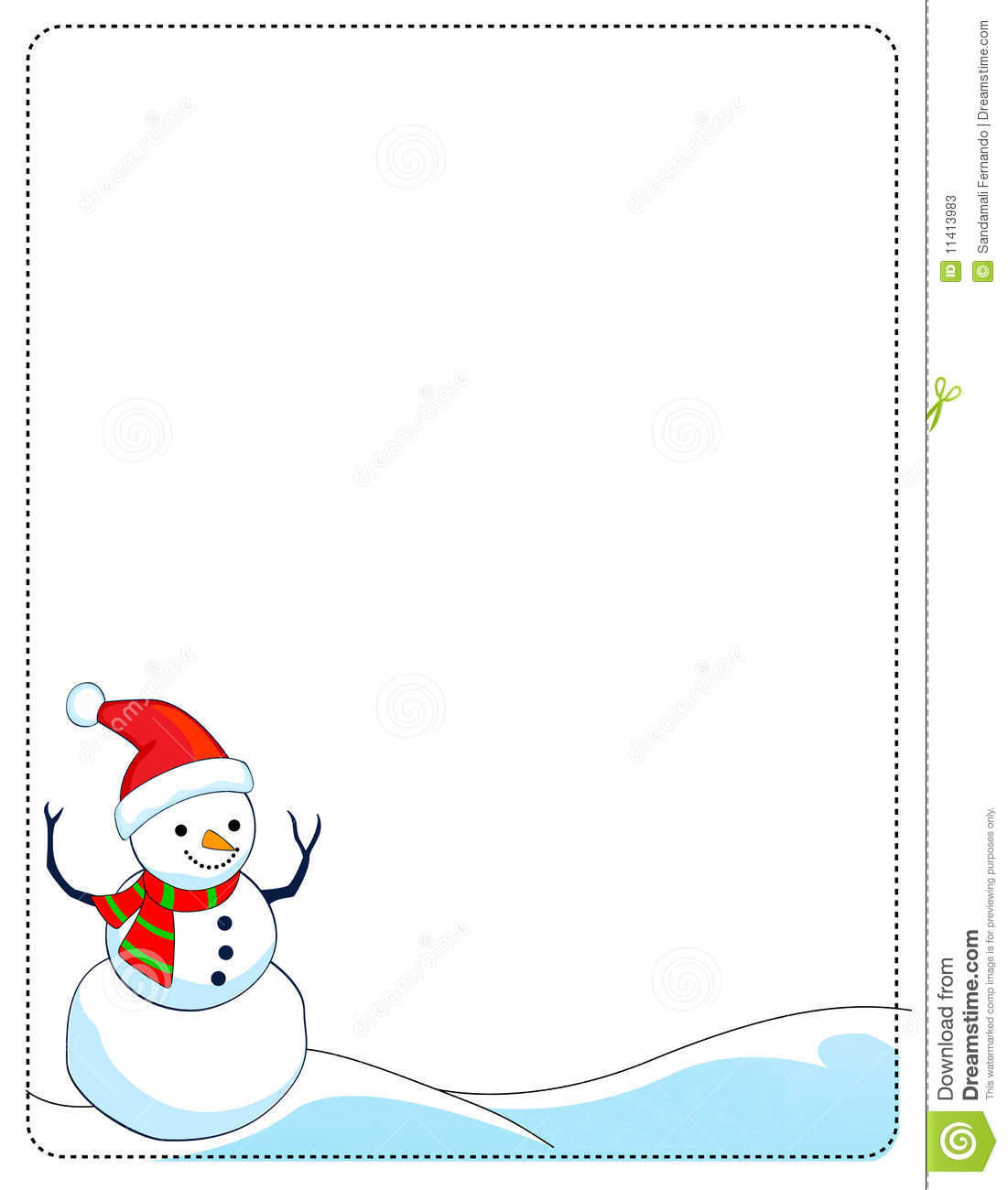 border illustration featuring a smiling snowman on white background.