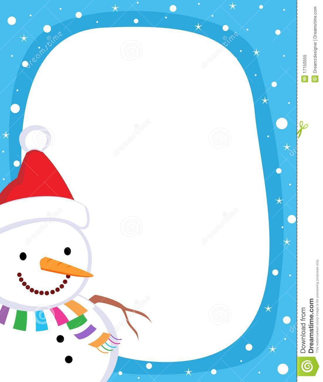 ... falling snow on clean blue background. snowman wearing red santa hat