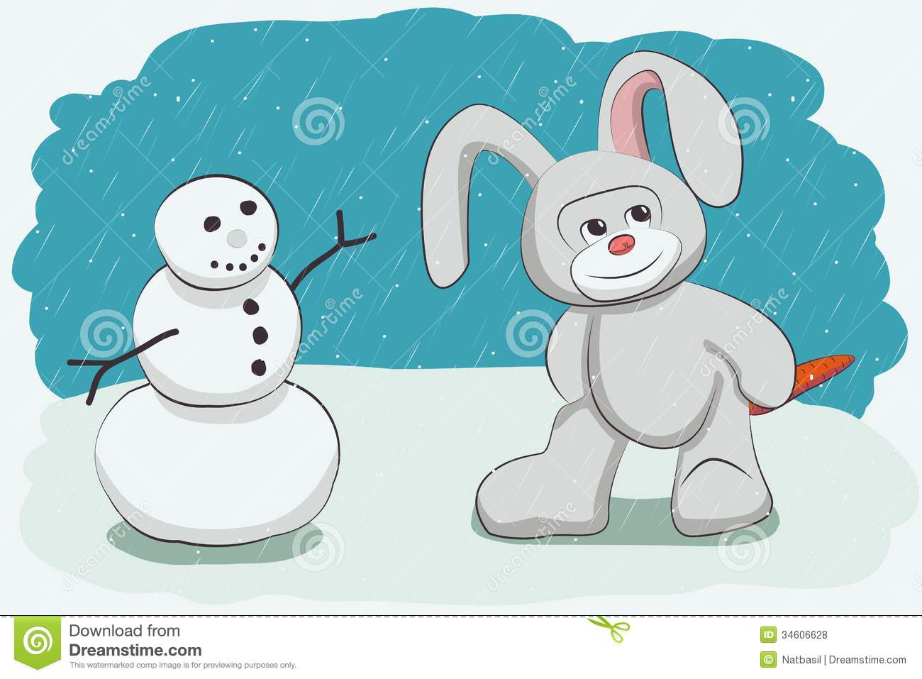 Snowman and bunny royalty free stock photos image 34606628