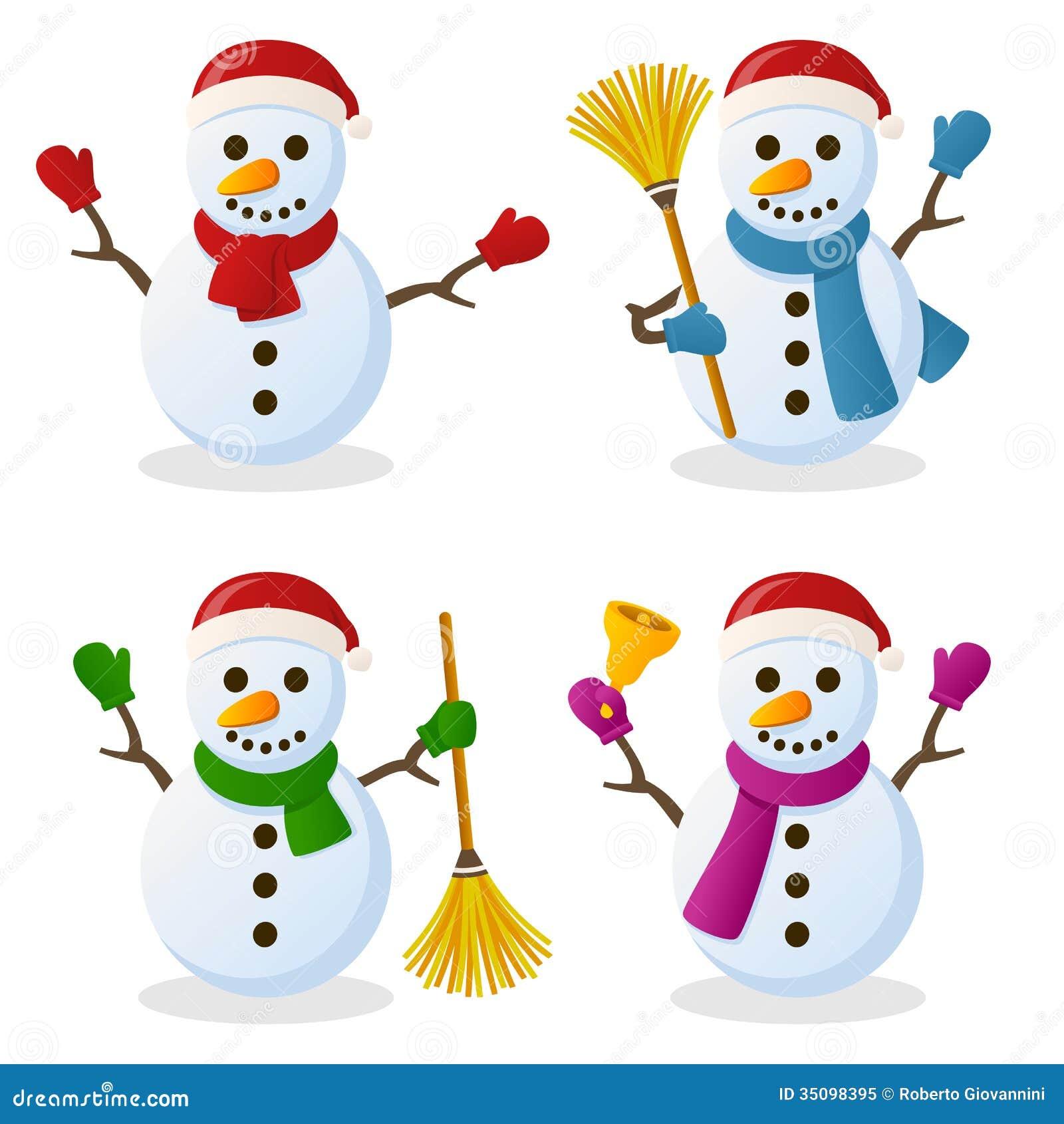 Christmas Images Free Cartoon.Snowman Cartoon Christmas Set Stock Vector Illustration Of